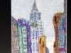 THE CHRYSLER BUILDING, NEW YORK by Mavis Bentley, hand embroidery in scrim & silk thread, Ten Plus @ The Atkinson, 2018