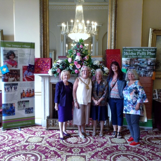 Ruby and Kathy with Liverpool Lord Mayor Cllr Christine Banks and friends at Liverpool Town Hall, Aug 2018
