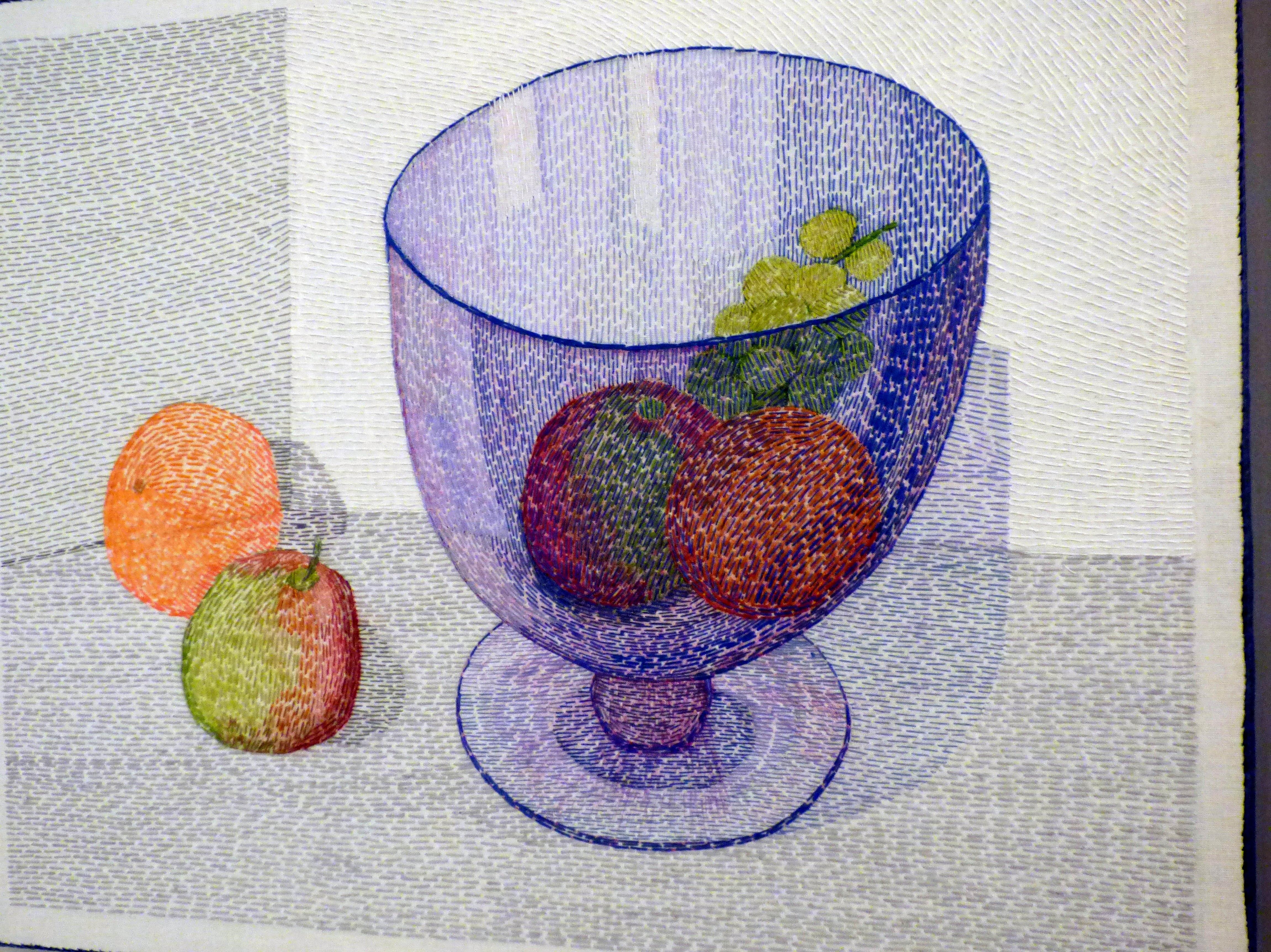 THE BIG BLUE BOWL by Audrey Walker, hand stitch, 2013