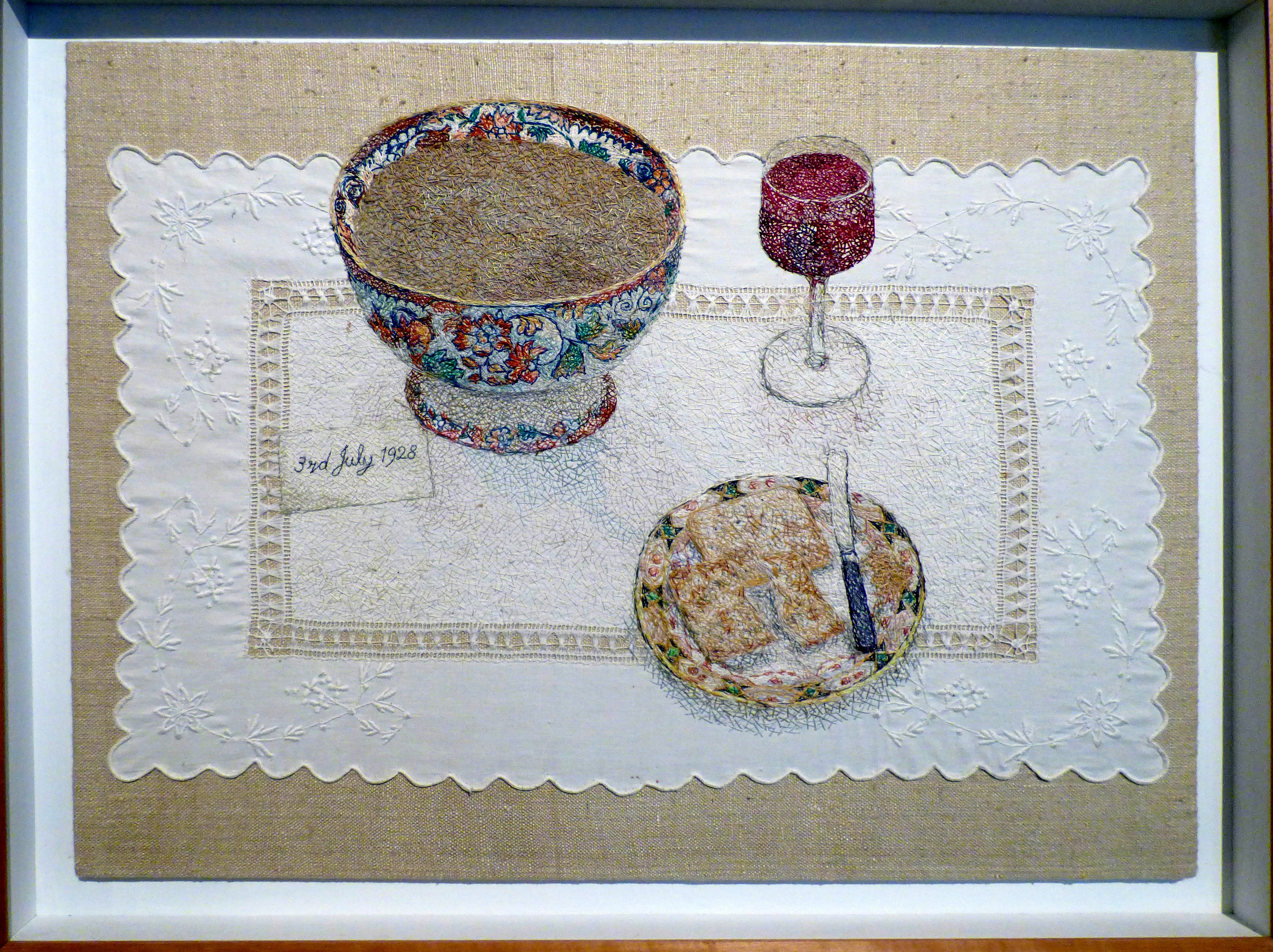 A CUMBRIAN BIRTHDAY by Audrey Walker, stitched textile, 1997/8