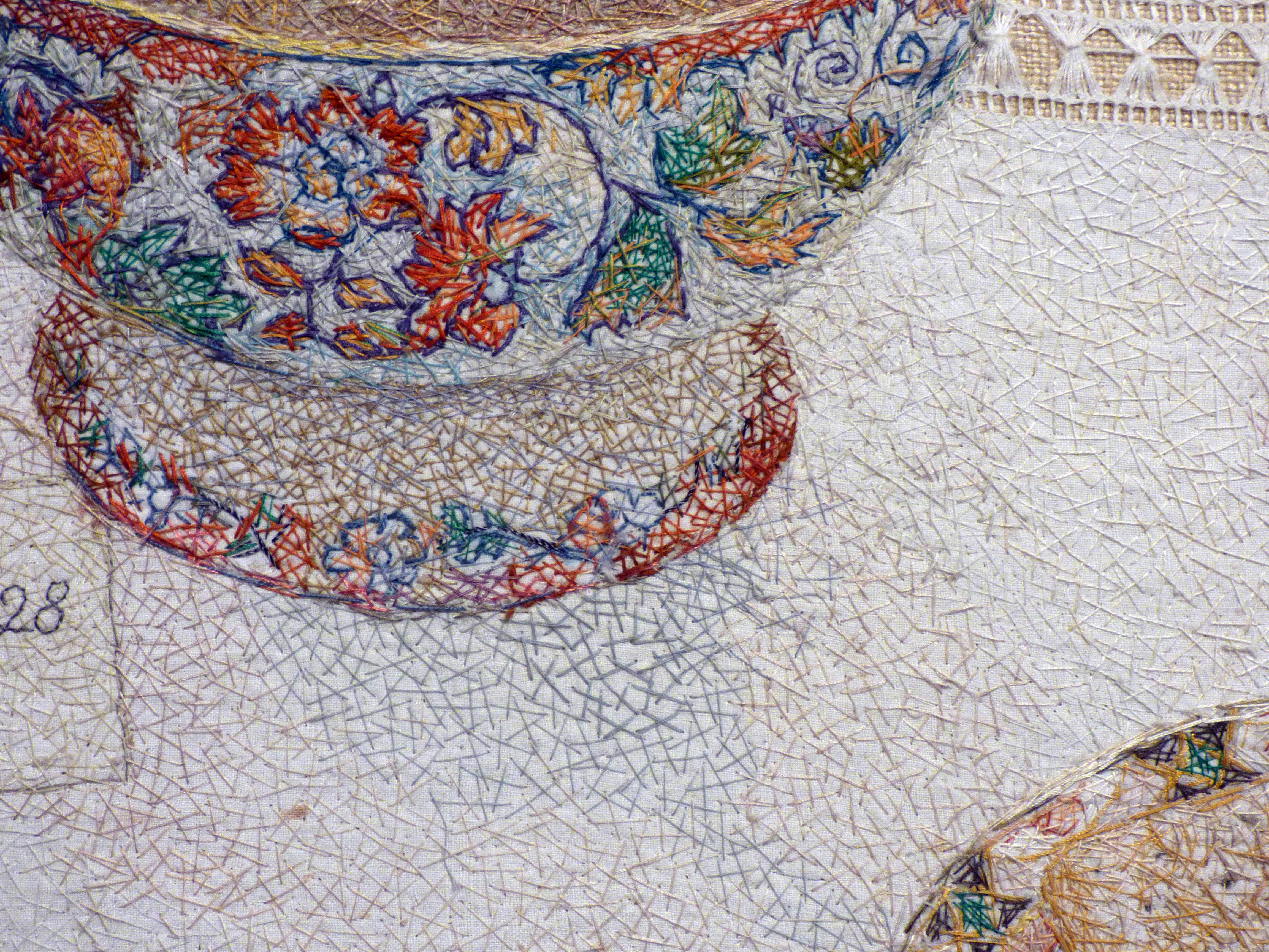 (detail) A CUMBRIAN BIRTHDAY by Audrey Walker, stitched textile, 1997/8