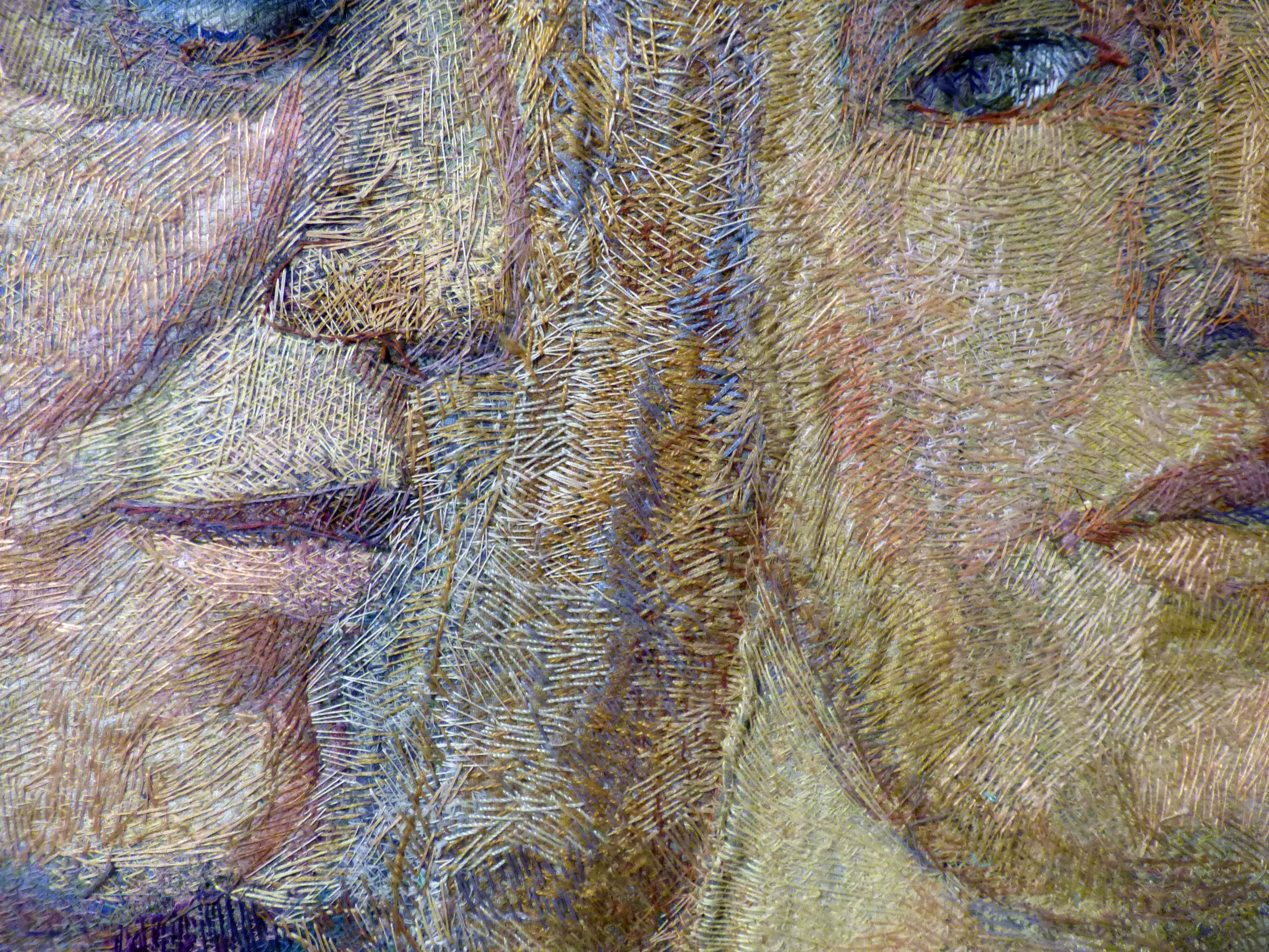 (detail) ENCOUNTER by Audrey Walker, stitched textile by Audrey Walker, 1998