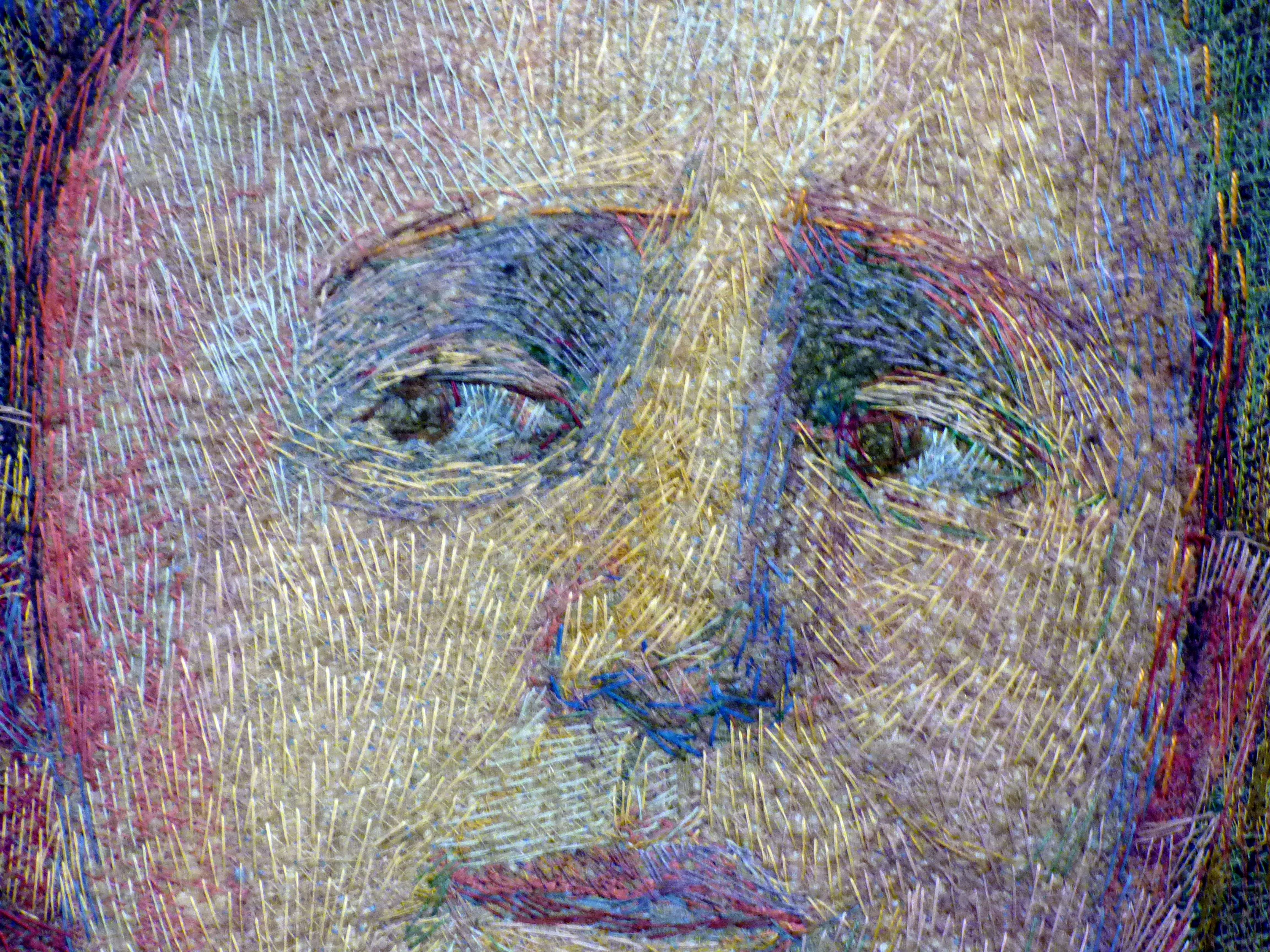 (detail) ADAM AND EVE, by Audrey Walker, stitched textile, 2000