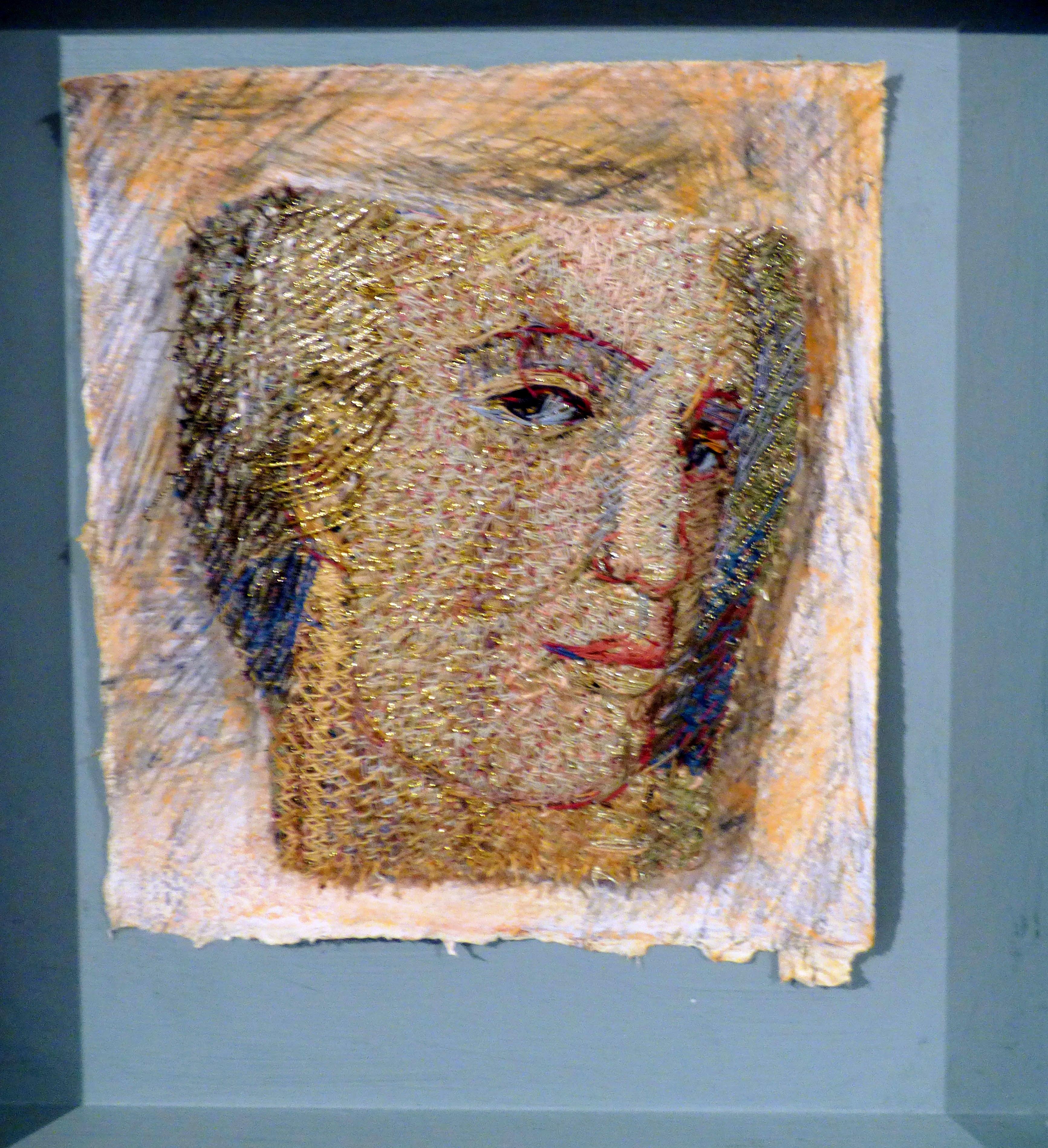 ROMAN FACE by Audrey Walker, stitched textile, 1999