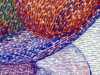 (detail) THE BIG BLUE BOWL by Audrey Walker, hand stitch, 2013