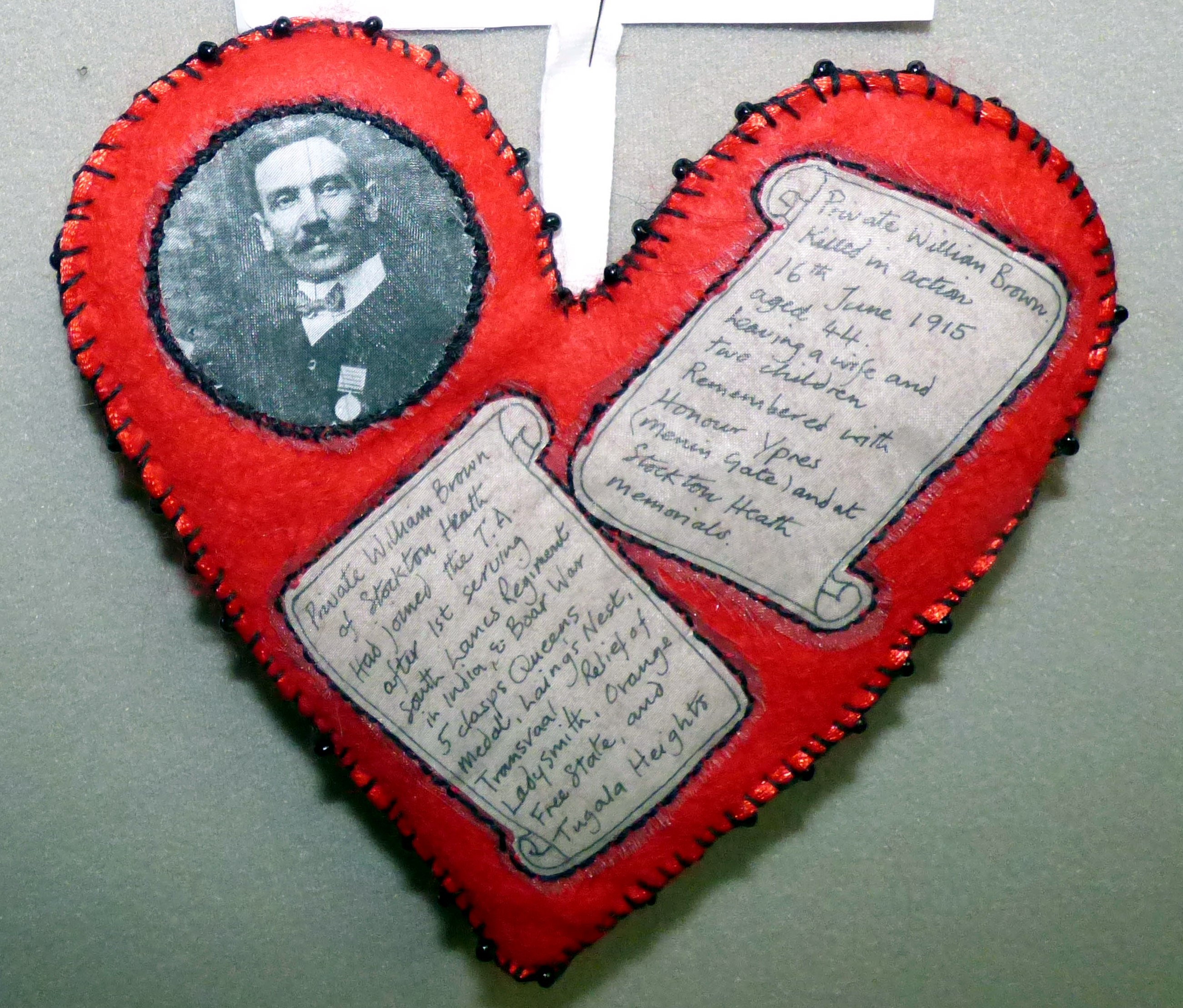 TO REMEMBER PRIVATE WILLIAM BROWN OF STOCKTON HEATH by Valerie Cockcroft, in memory of older soldiers, 100 Hearts exhibition, Liverpool Cathedral, Sept 2018