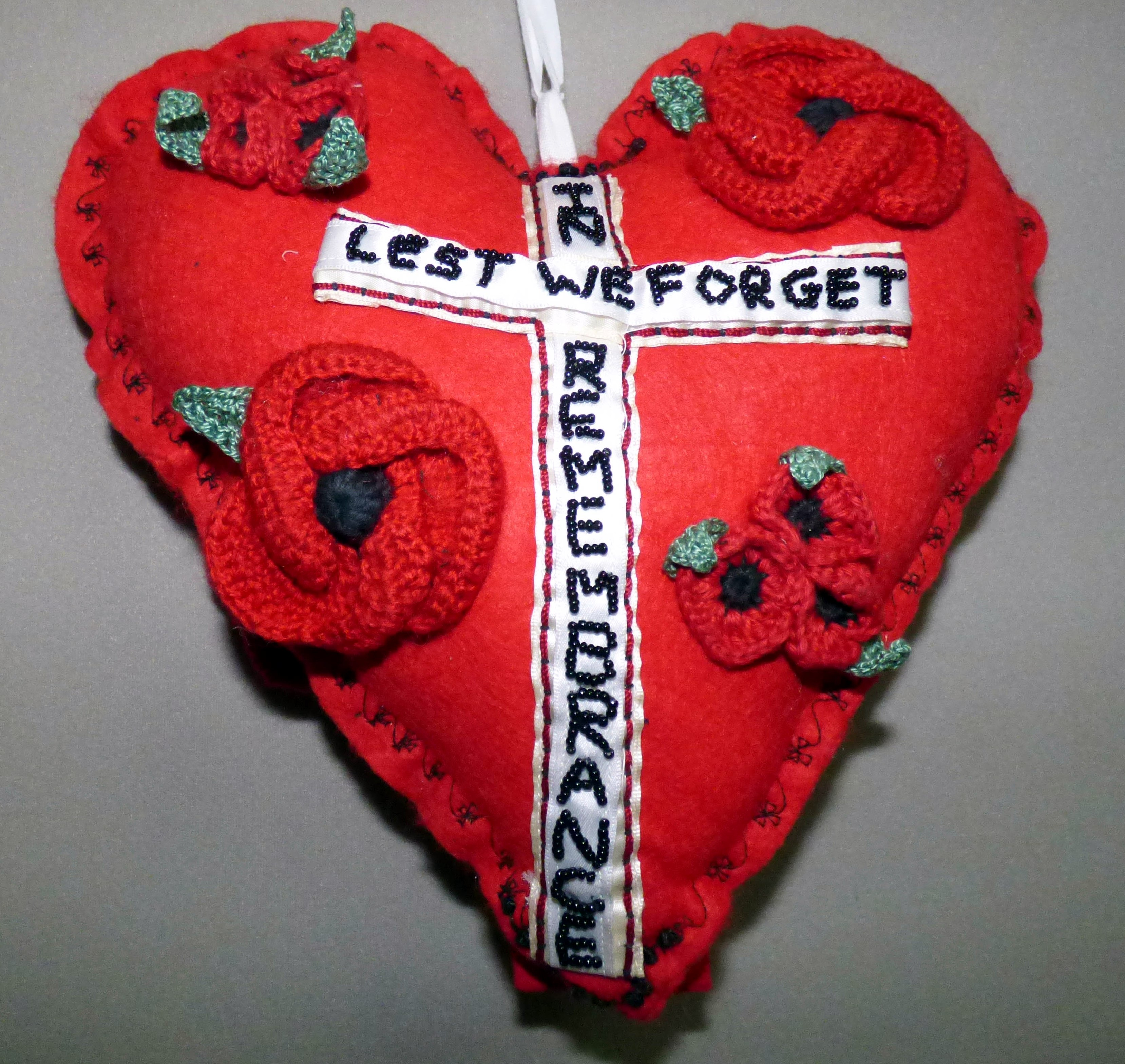 TO REMEMBER WORLD WAR 1914 -18 by Lorraine Barker, in memory of all those under-age who signed up, 100 Hearts exhibition, Liverpool Cathedral, Sept 2018