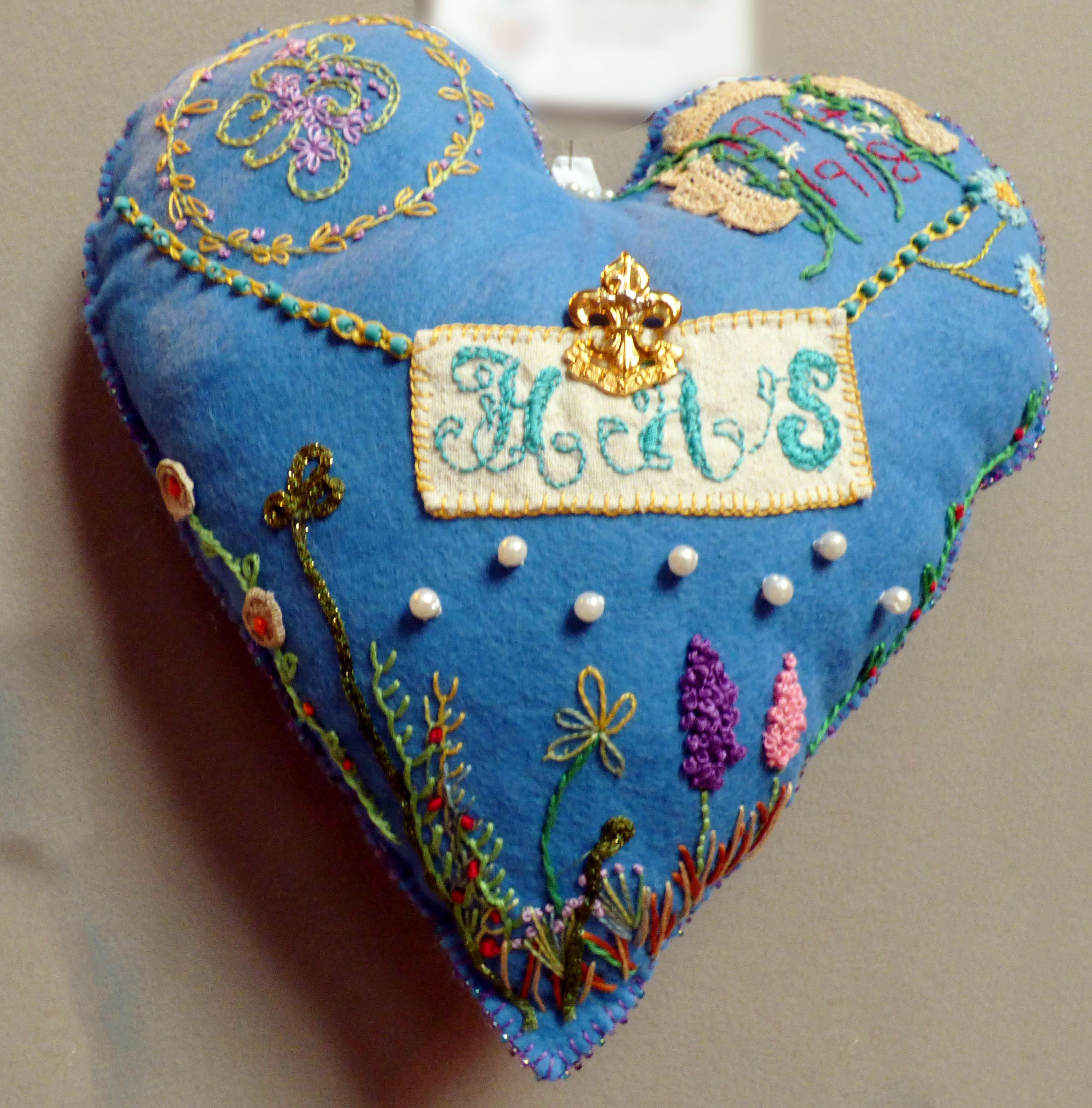 WW1 Heart for 'POP' by Nerys Stocker, in memory of Henry Arthur Stocker, 100 Hearts exhibition, Liverpool Cathedral, Sept 2018
