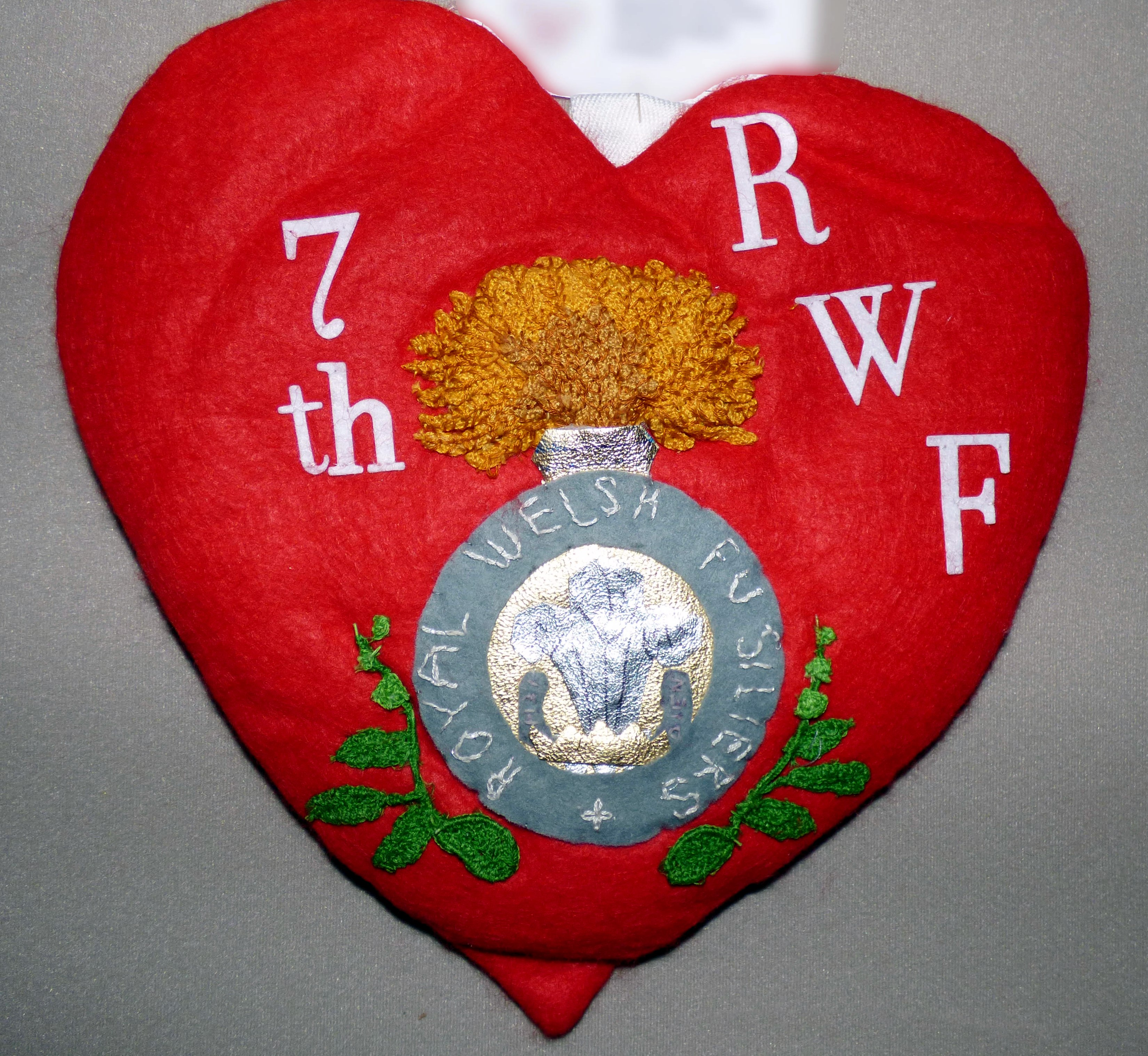 IN MEMORY OF THE NEWTOWN MEN OF THE 7TH ROYAL WELSH FUSILIERS by Joy Hamer, 100 Hearts exhibition, Liverpool Cathedral, Sept 2018