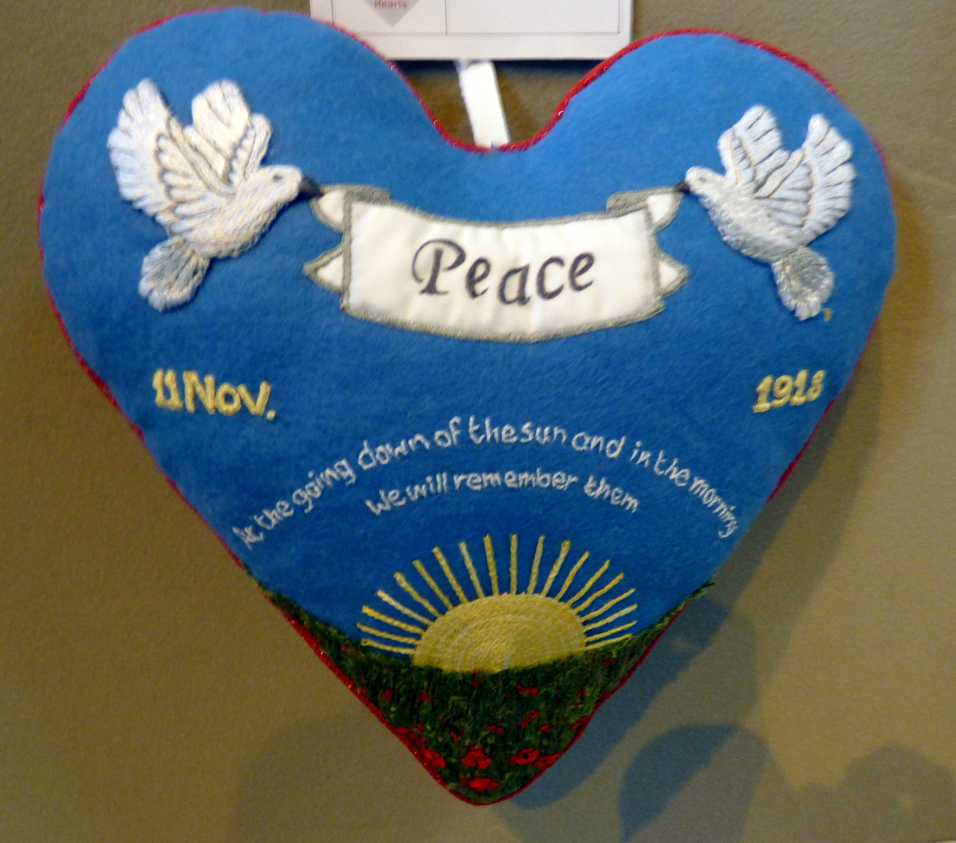CELEBRATING PEACE by Lorna Batten, 100 Hearts exhibition, Liverpool Cathedral, Sept 2018