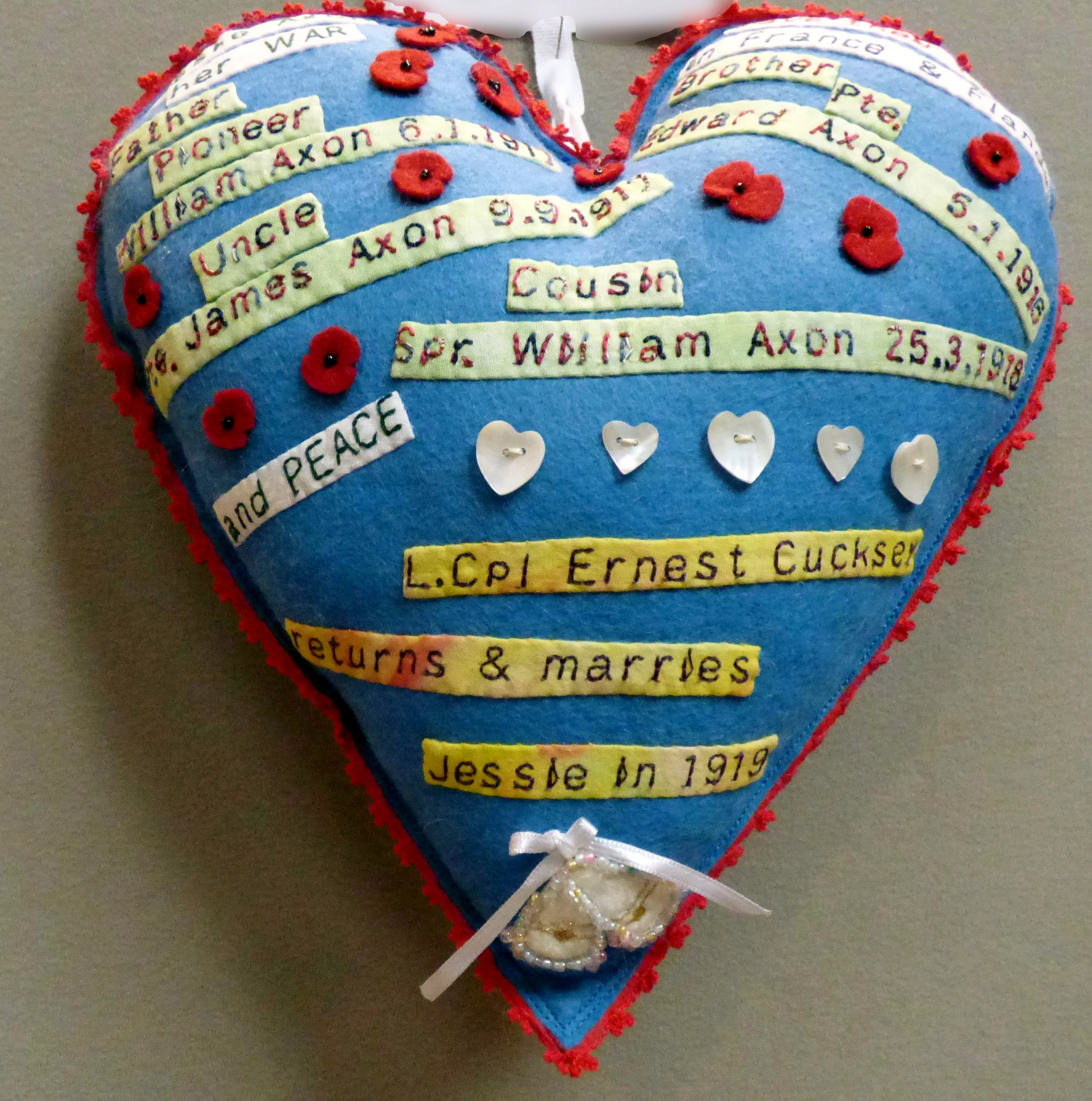 JESSIE AXON'S WAR AND PEACE by Edwina Winter, in memory of my paternal grandmother, 100 Hearts exhibition, Liverpool Cathedral, Sept 2018