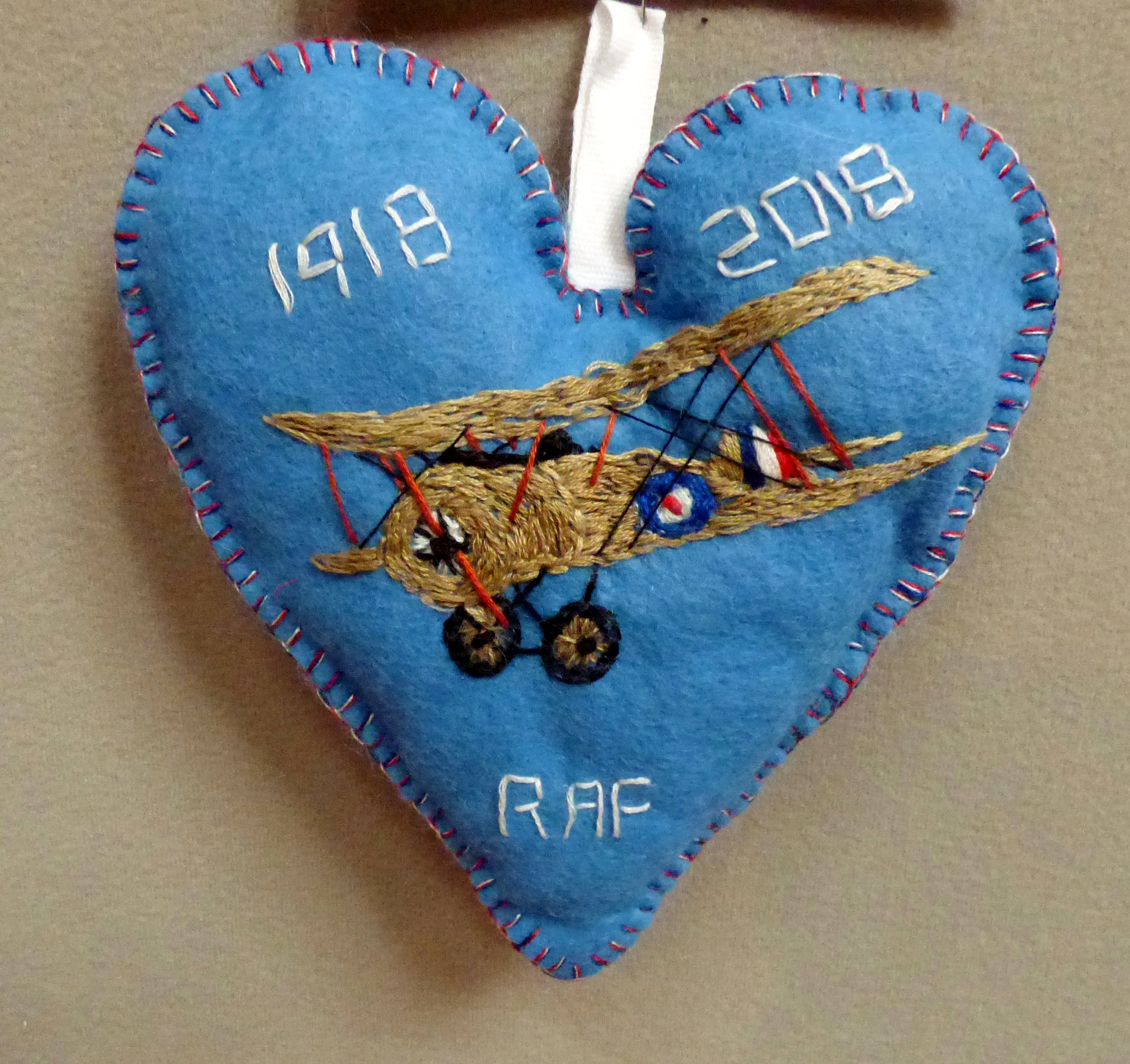 RAF 100 YEARS by Jacqueline Gregory, in memory of Chief Technician John Desmond Crawford, 100 Hearts exhibition, Liverpool Cathedral, Sept 2018