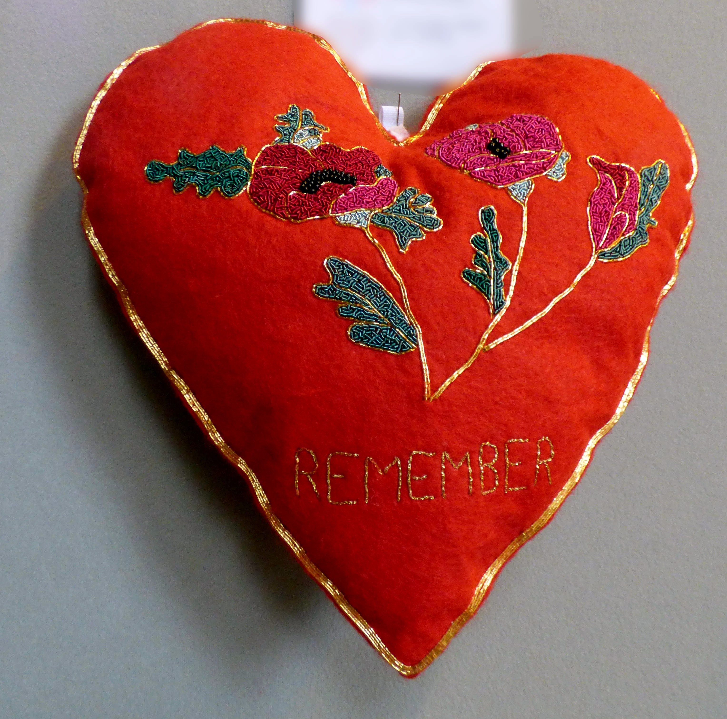 TO REMEMBER WORLD WAR 1 1914-18 by Christine Bardsley, 100 Hearts exhibition, Liverpool Cathedral, Sept 2018