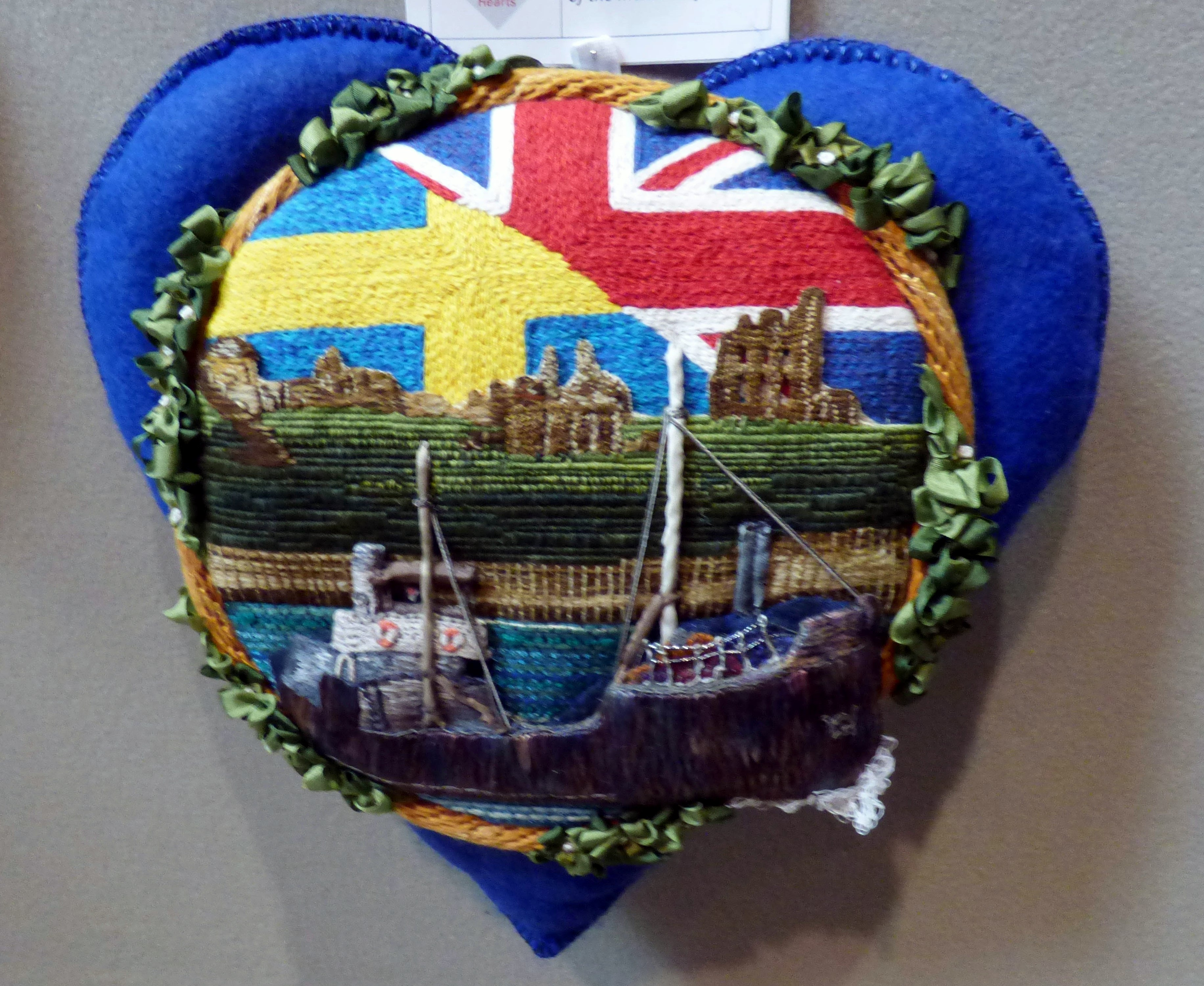 LEAVING THE TYNE 1915 by Rachel Wright, in memory of the men of the merchant fleet, 100 Hearts exhibition, Liverpool Cathedral, Sept 2018