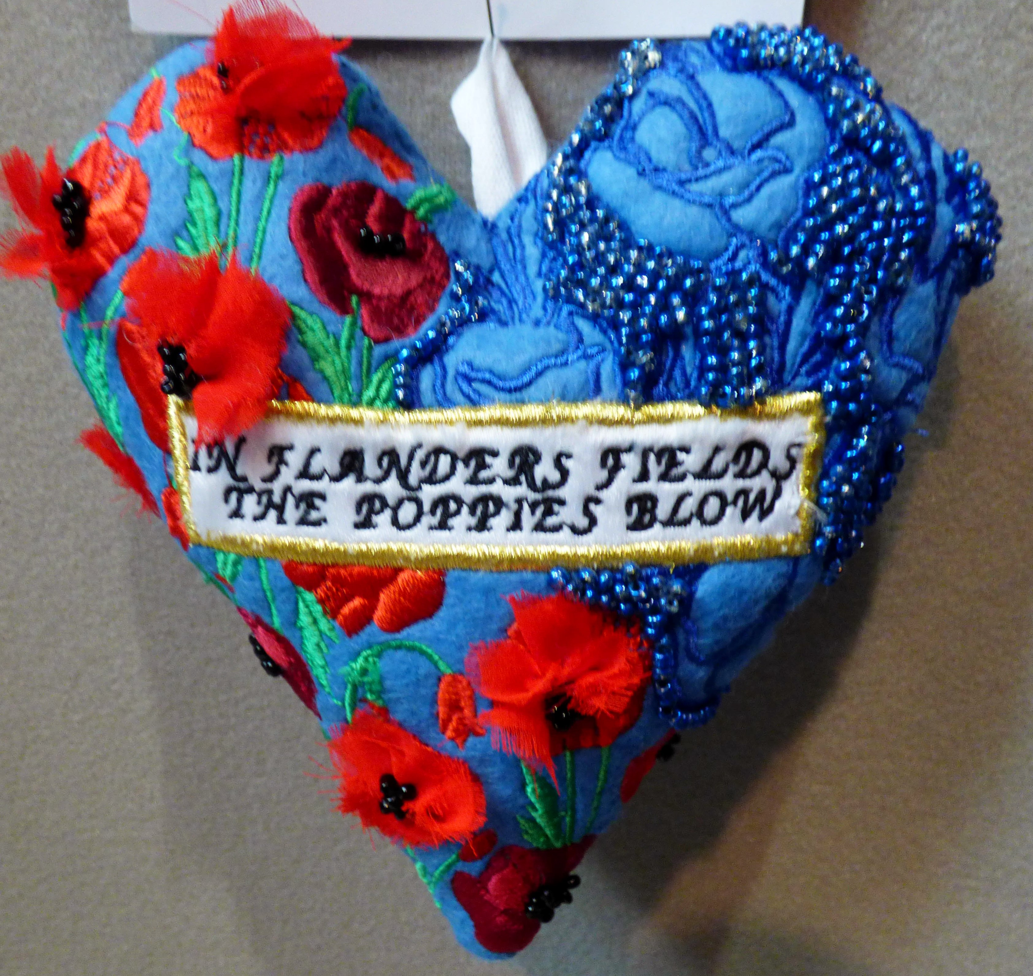 HEART OF A WARRIER by Shannen McCusker, in memory of John McCrae, 100 Hearts exhibition, Liverpool Cathedral, Sept 2018