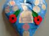 DADCU RCF WW1 1914-1918 by Roselie Gardnerin memory of those who worked on the wooden planes, 100 Hearts exhibition, Liverpool Cathedral, Sept 2018