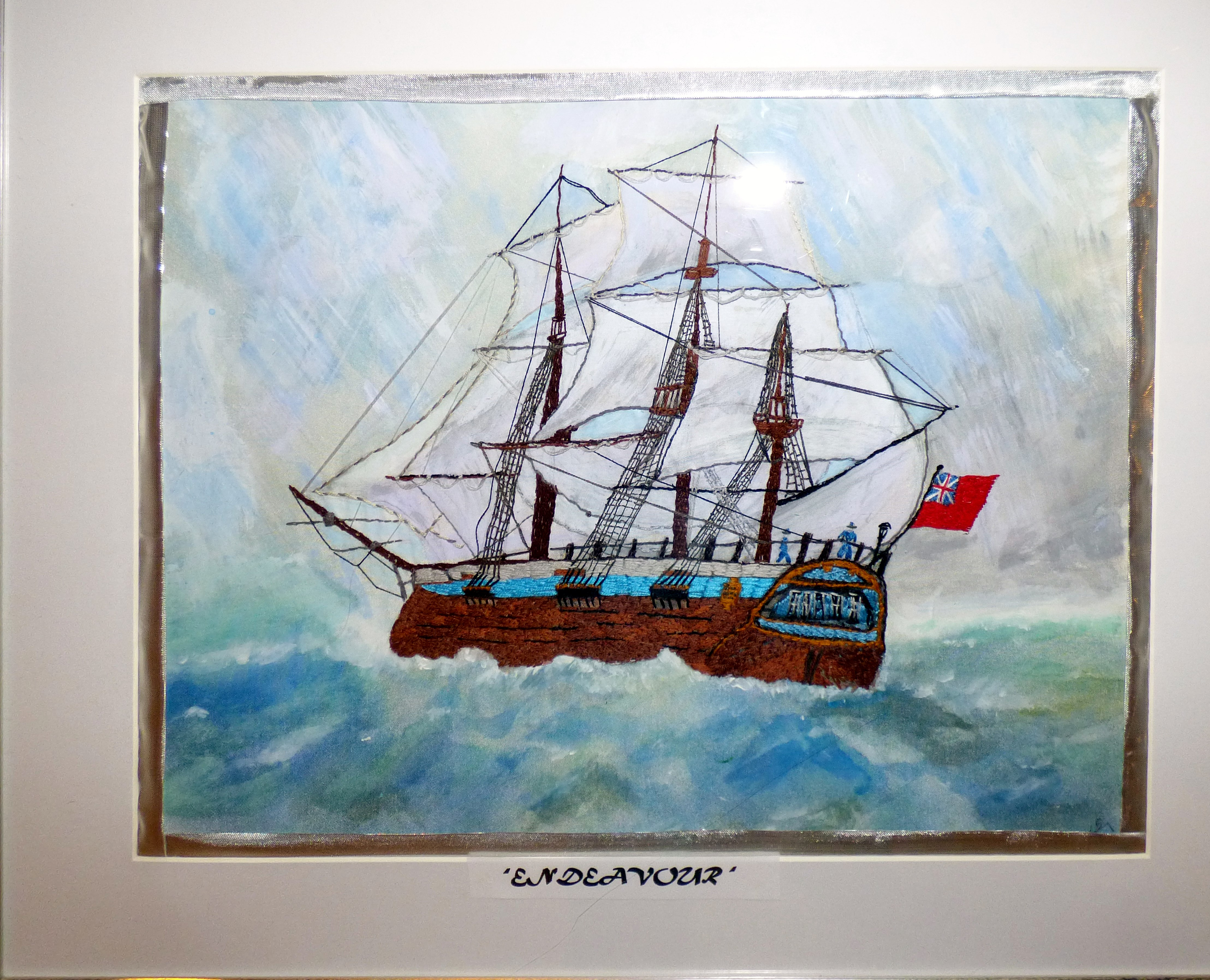 ENDEAVOUR by Kathy Green, painted on silk, hand embroidery, Endeavour exhibition, Liverpool Cathedral, Sept 2018