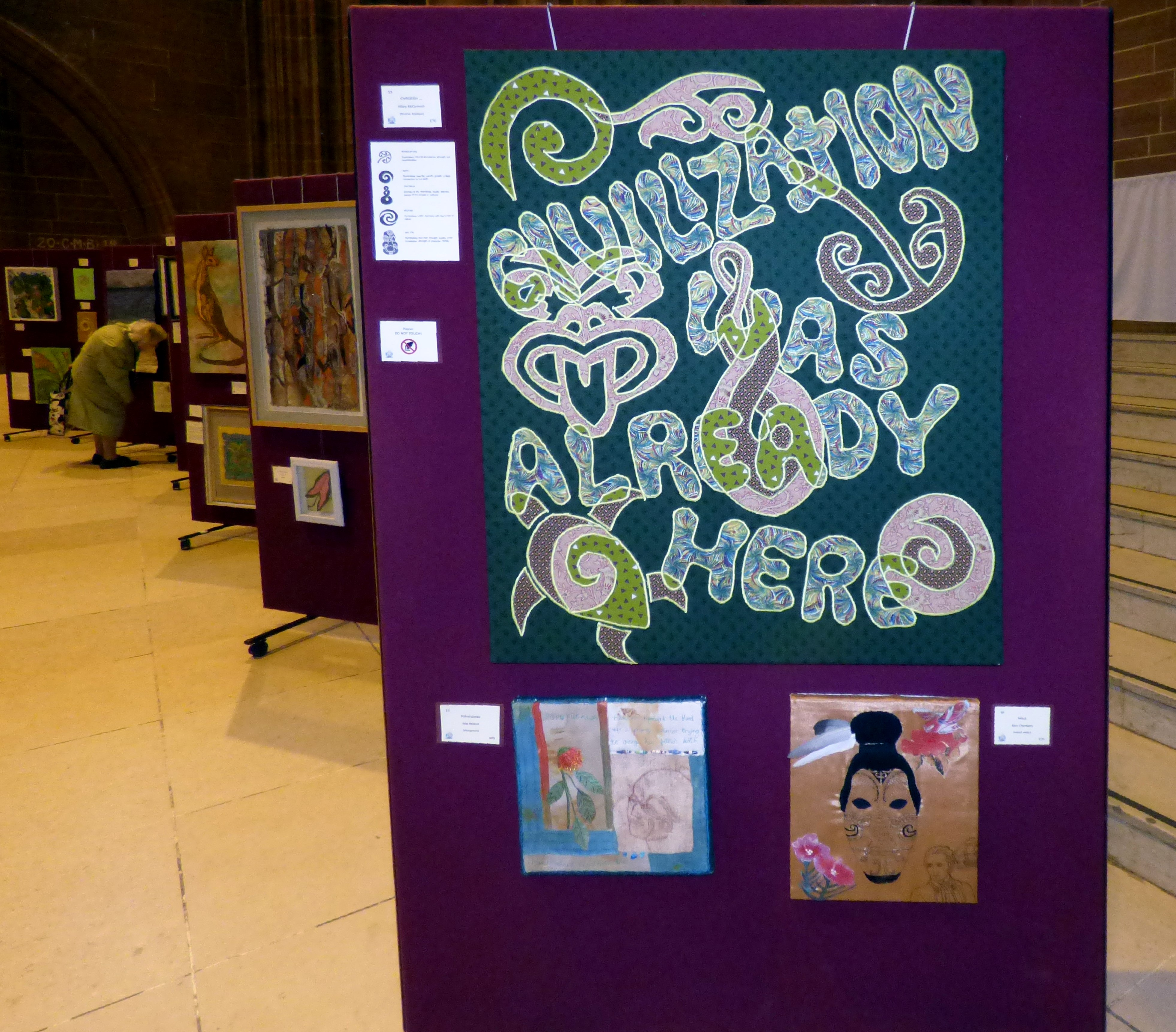 CIVILIZATION...by Hilary McCormack, reverse applique, Endeavour exhibition, Liverpool Cathedral, Sept 2018