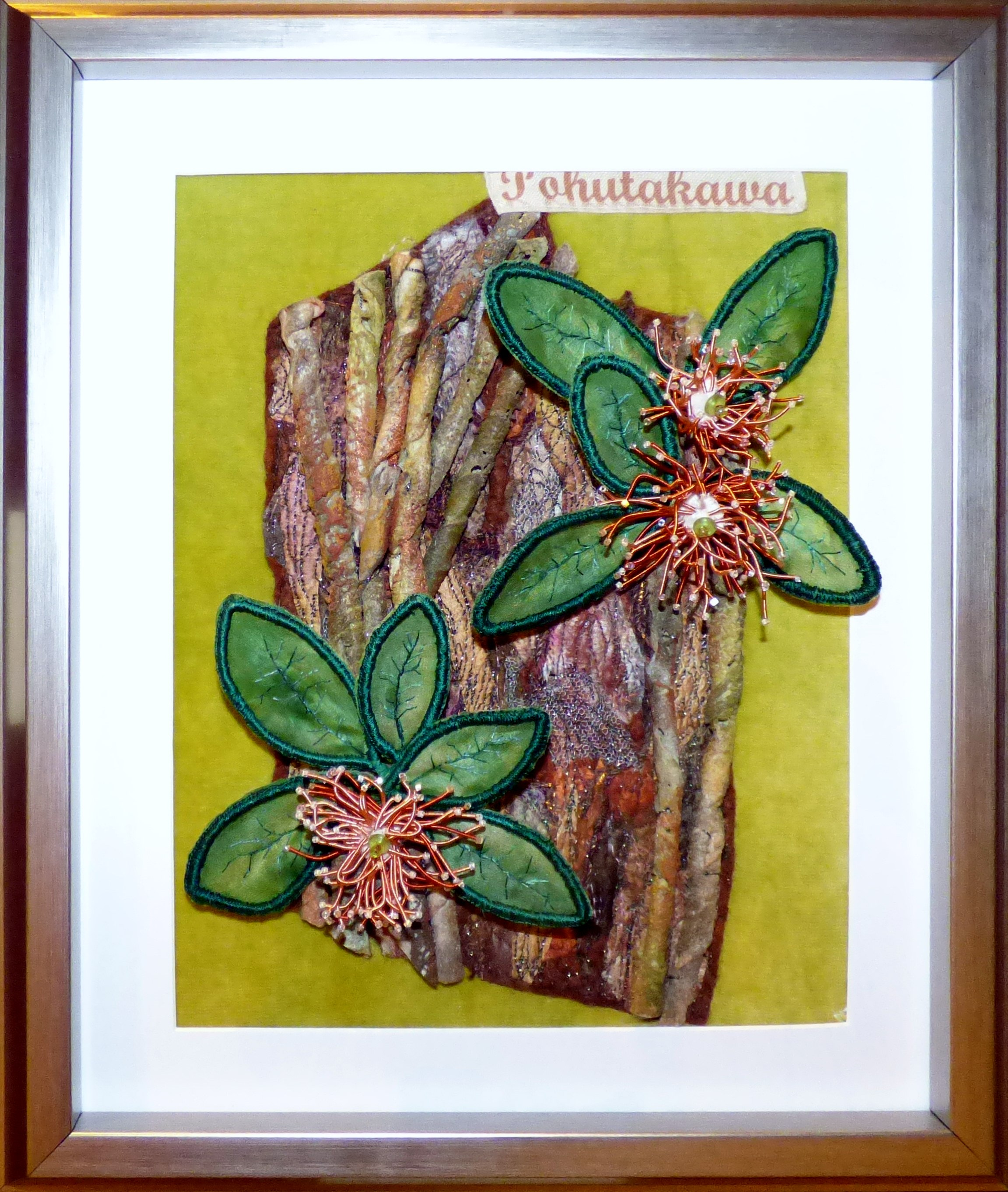 POHUTUKAWA FLOWER by Mal Ralston, mixed media,  Endeavour exhibition, Liverpool Cathedral, Sept 2018