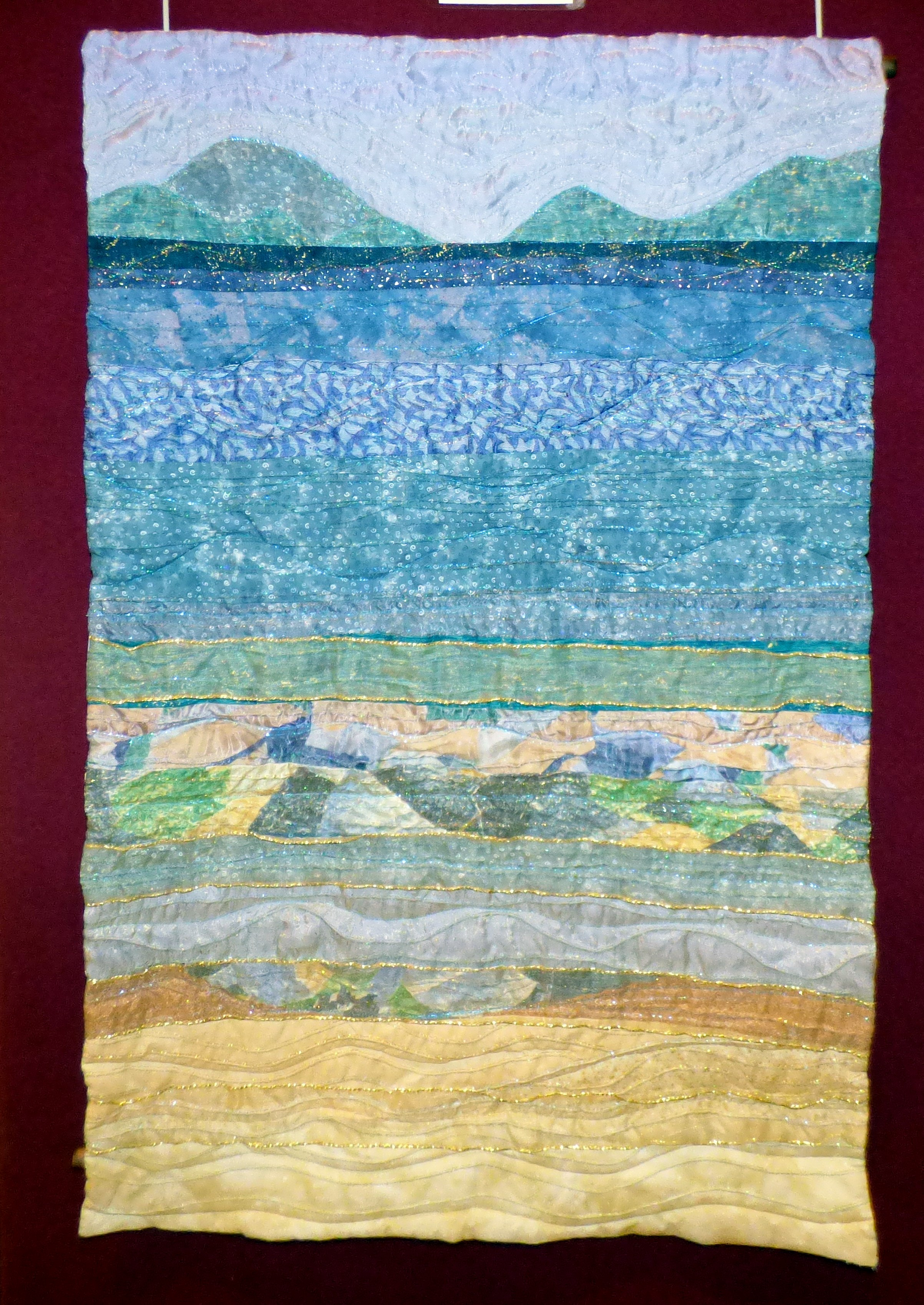 BORA BORA VIEW by Maggie Pearson,  quilted and machine embroidery, Endeavour exhibition, Liverpool Cathedral, Sept 2018