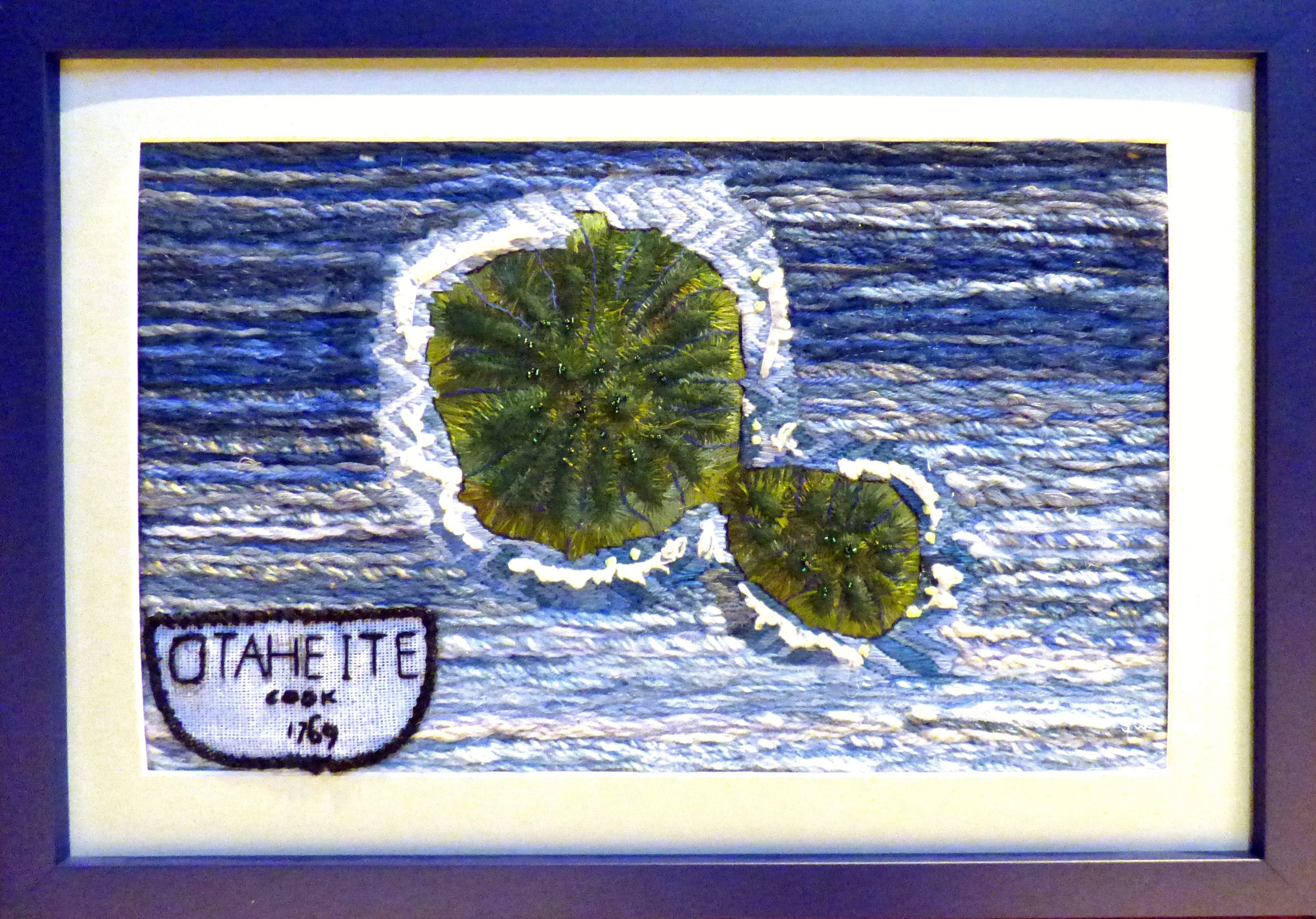TAHITI by Vicky Williams, hand stitch, Endeavour exhibition, Liverpool Cathedral, Sept 2018