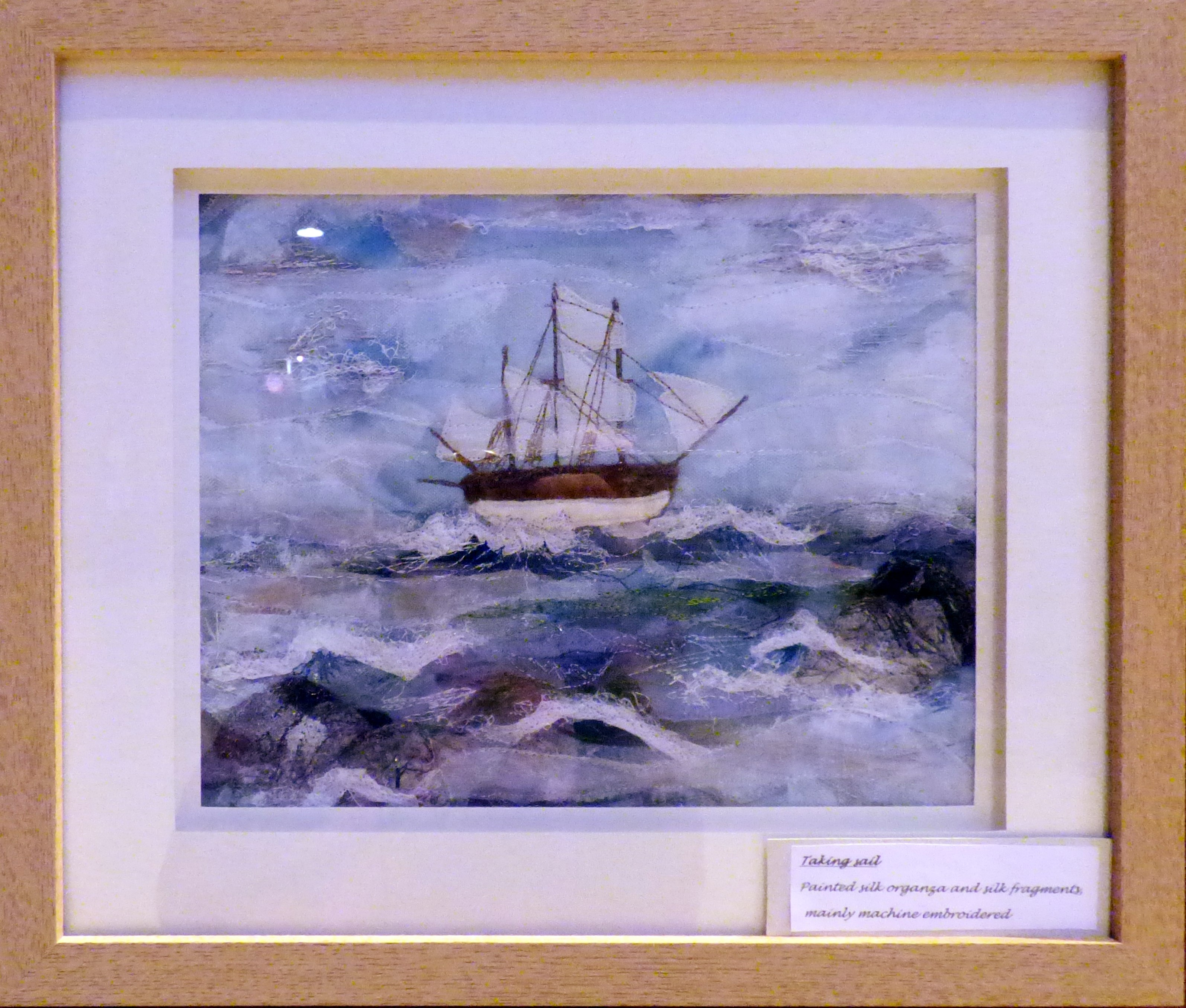 TAKING SAIL by Mal Ralston, machine and hand embroidery,  Endeavour exhibition, Liverpool Cathedral, Sept 2018