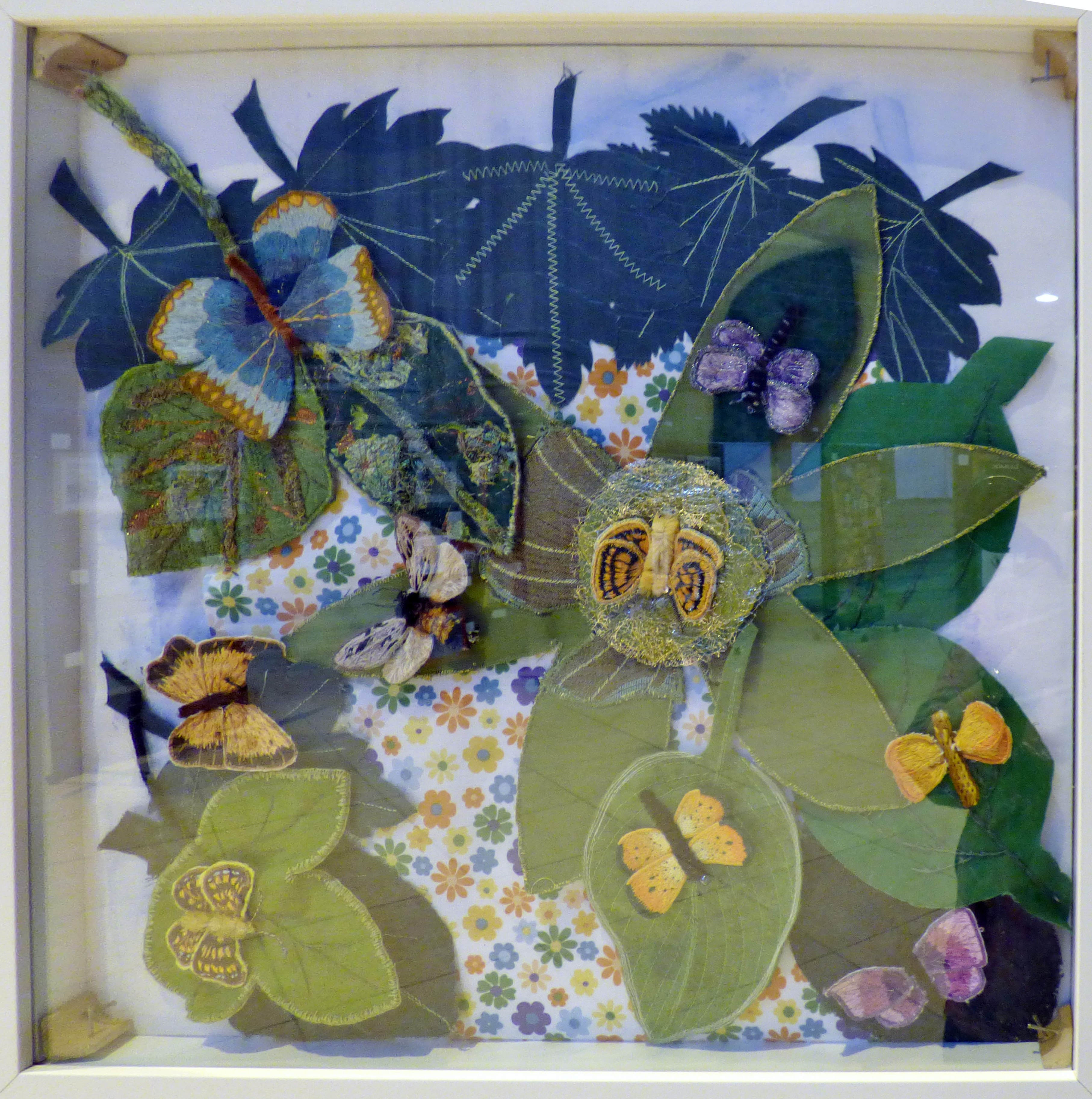 LEPIDOPTERA CASE by Merseyside Embroiderers' Guild, groupwork, stumpwork,  Endeavour exhibition, Liverpool Cathedral, Sept 2018