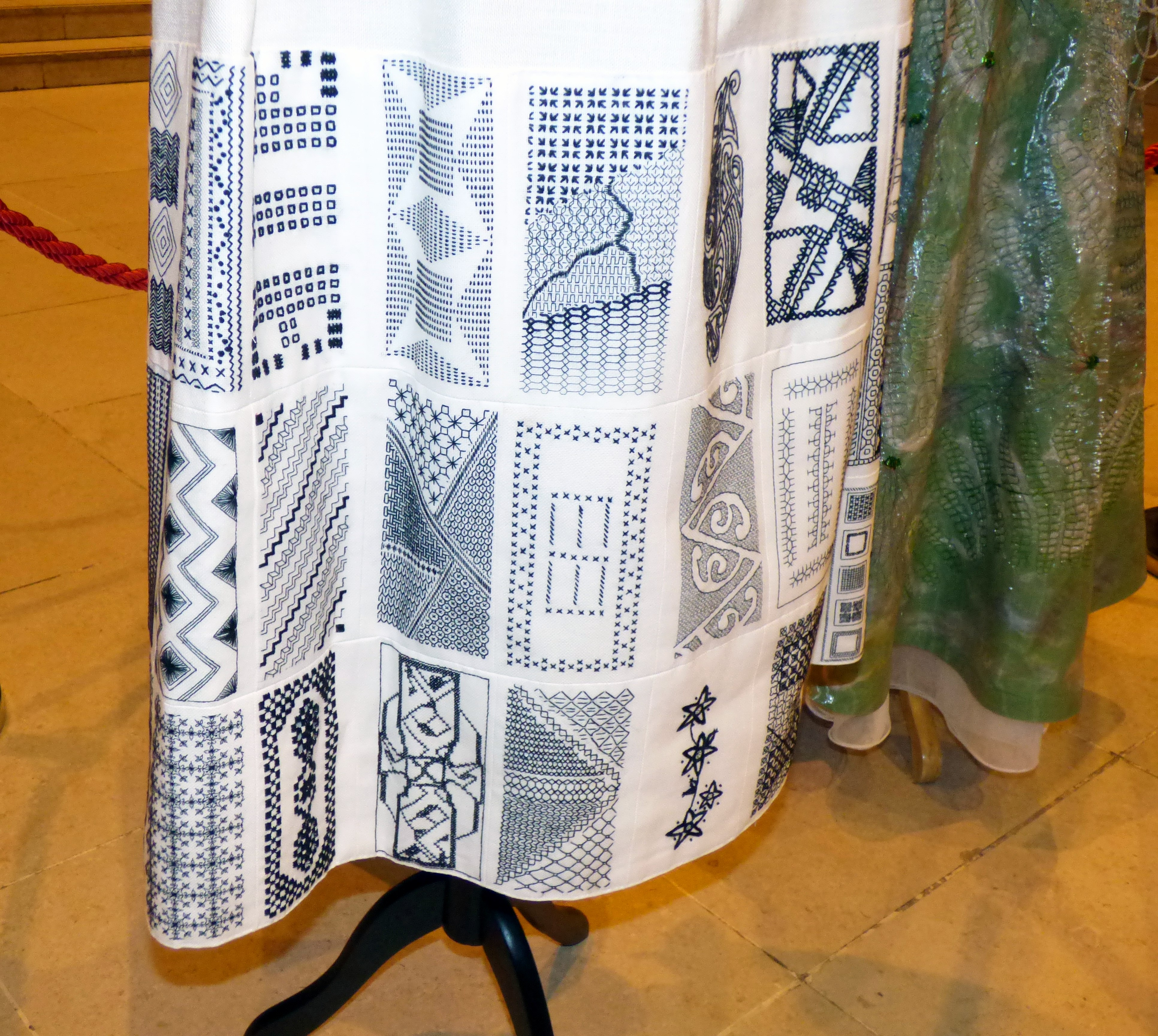 detail of JOSEPH BANKS' CLOAK, a MEG group project,  assembled by Gill Roberts, blackwork, Endeavour exhibition, Liverpool Cathedral, Sept 2018