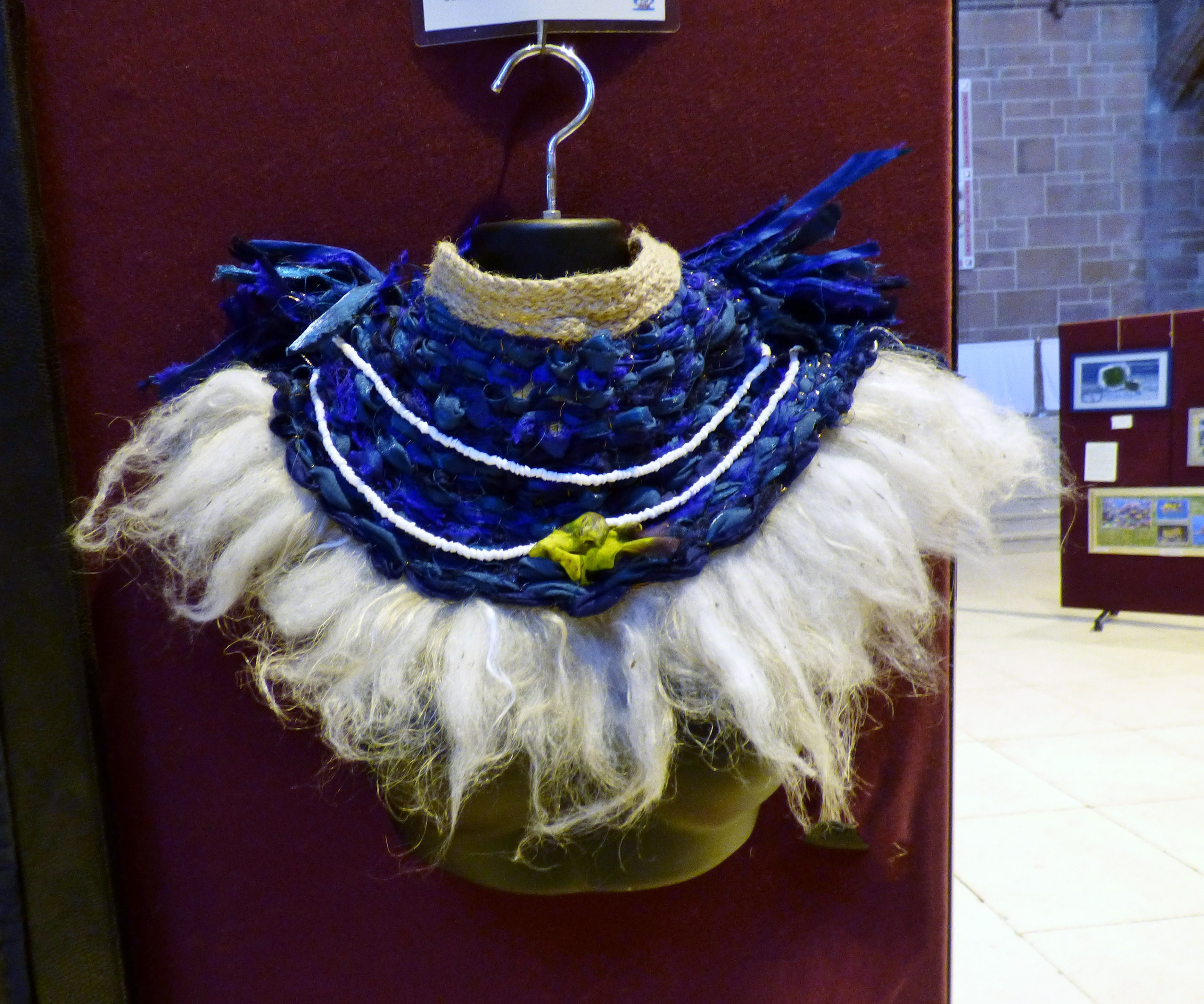 TRIBAL INSPIRED COLLAR by Karen Scott, mixed media, Endeavour exhibition, Liverpool Cathedral, Sept 2018