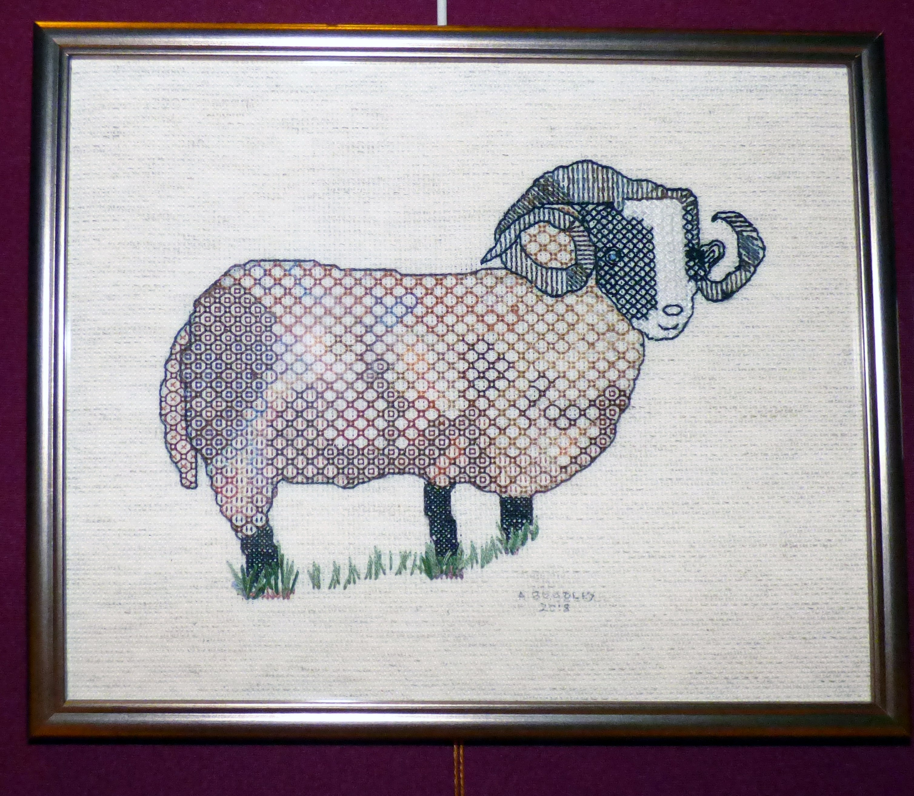 ATAPAWA SHEEP by Alice Bradley, blackwork, Endeavour exhibition, Liverpool Cathedral, Sept 2018