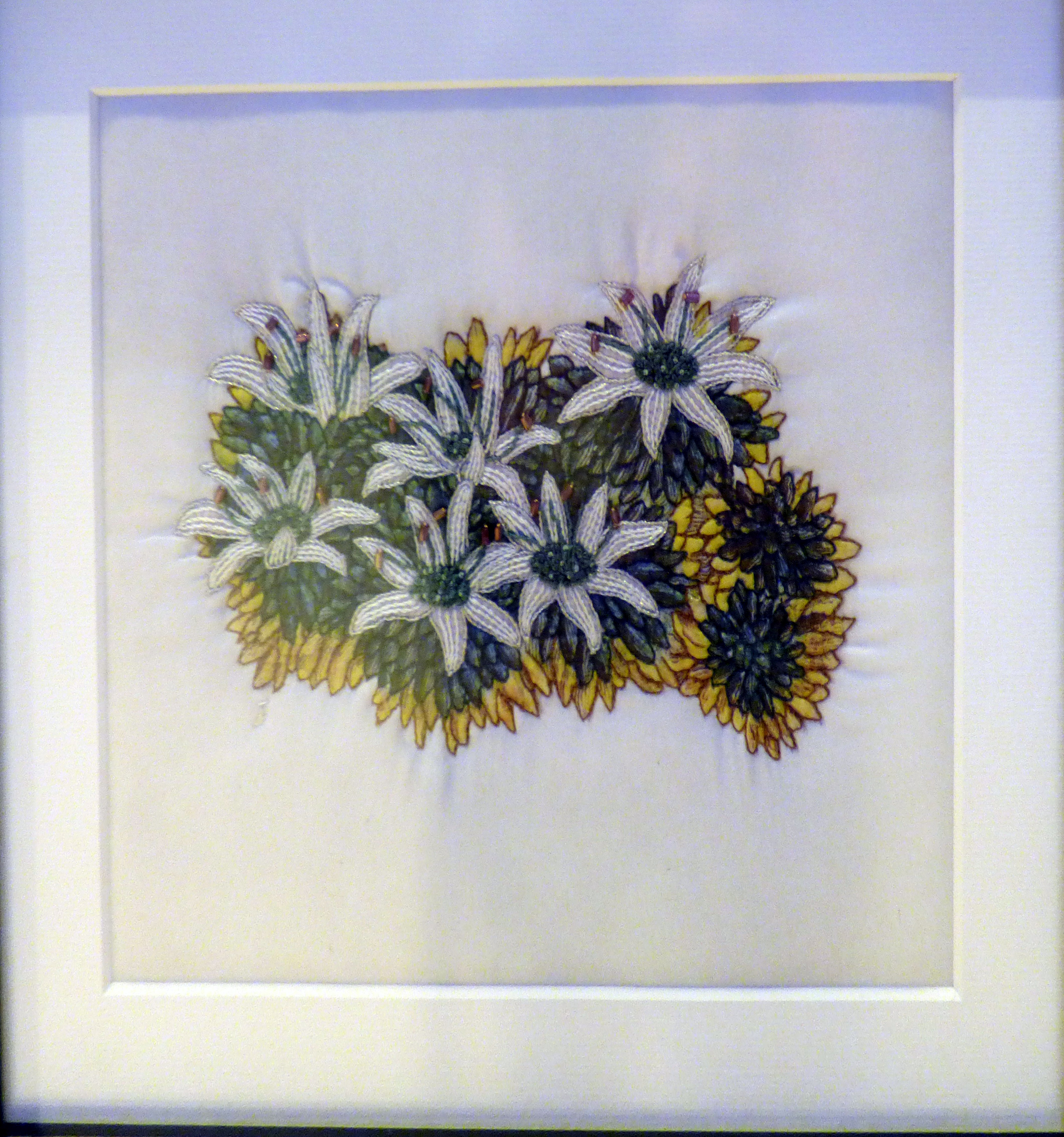 DONATIA FASCIRCULARIS by Ann Thyer, hand embroidery, Endeavour exhibition, Liverpool Cathedral, Sept 2018