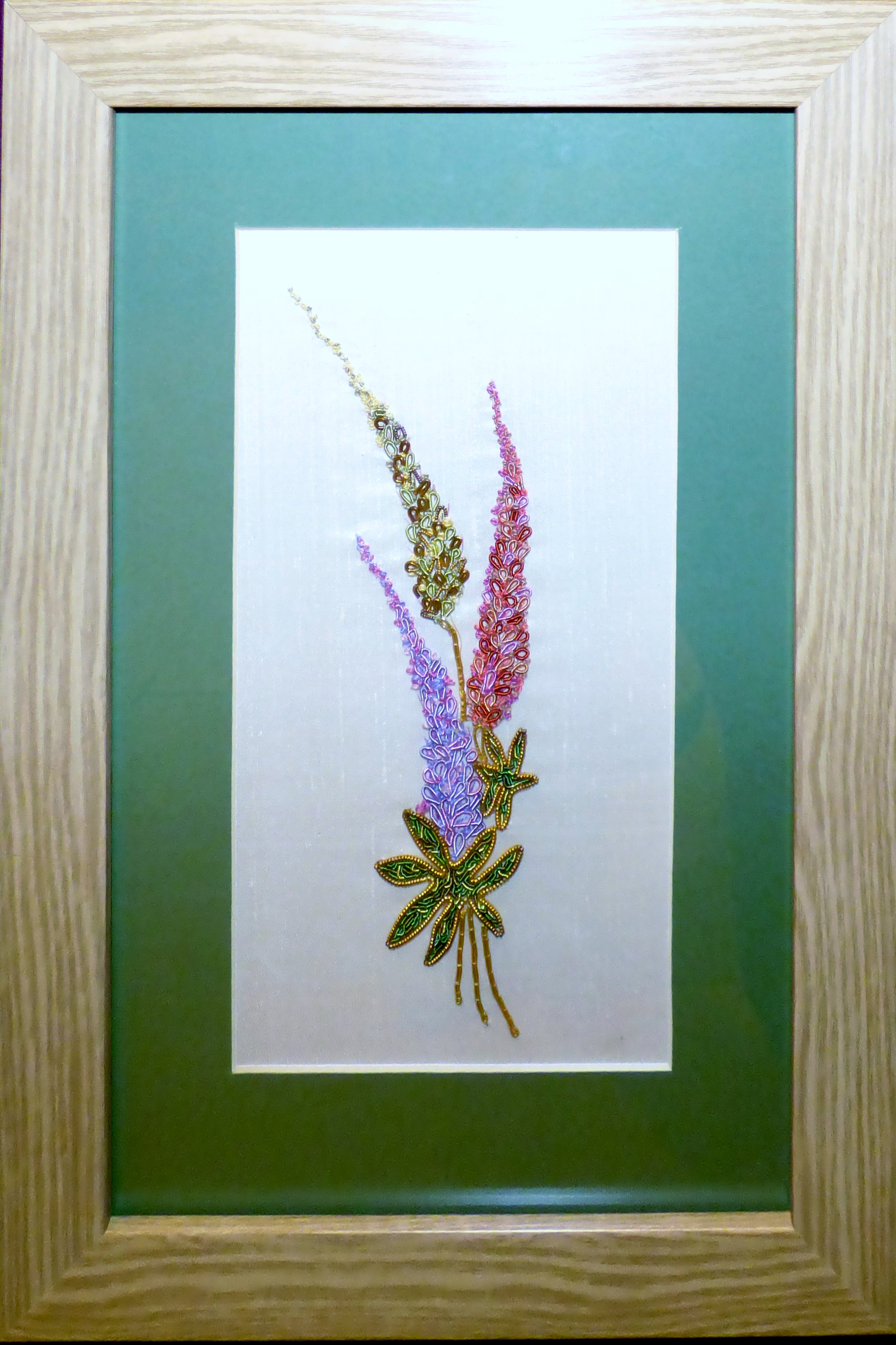 LUPINS by Linda Sowler, hand embroidery, Endeavour exhibition, Liverpool Cathedral, Sept 2018