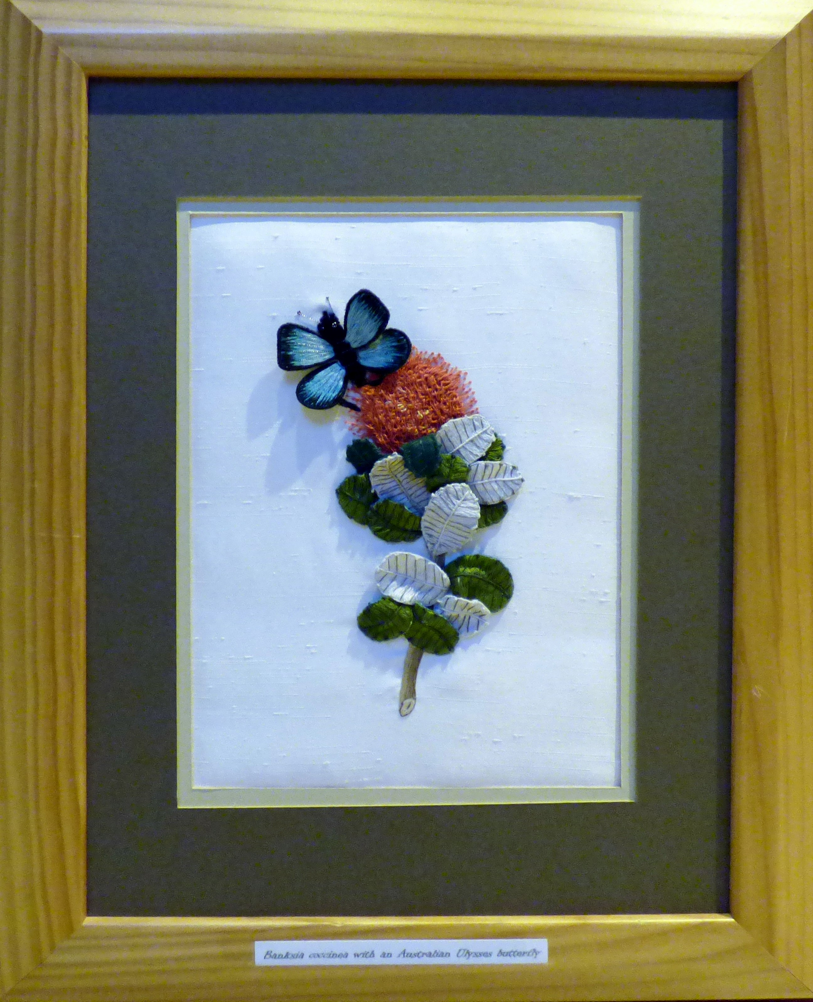 BANKSIA by Beryl Webster, stumpwork, Endeavour exhibition, Liverpool Cathedral, Sept 2018