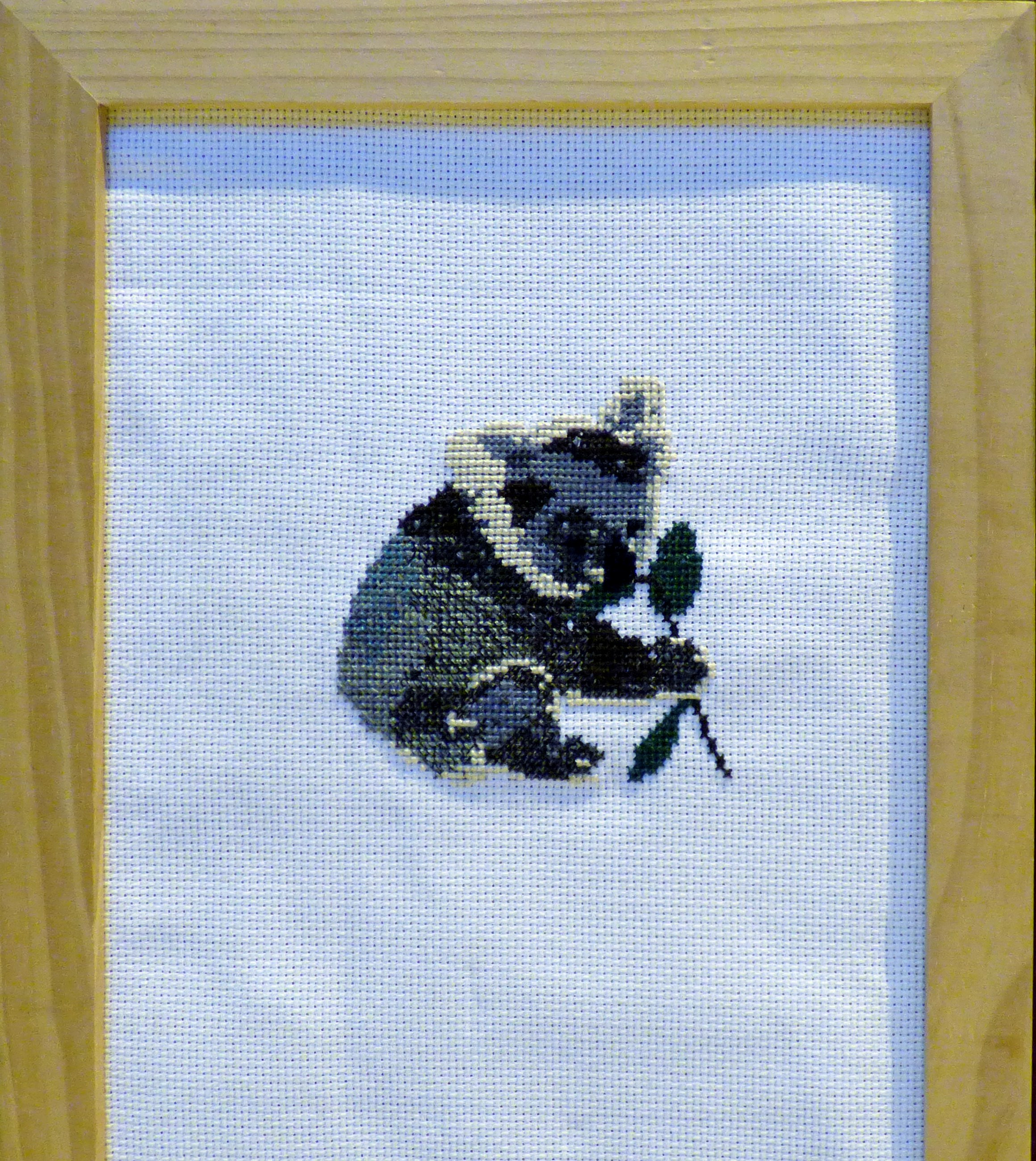 KOALA BEAR EATING EUCALYPTUS LEAF by Jenny Mullis, cross stitch,  Endeavour exhibition, Liverpool Cathedral, Sept 2018