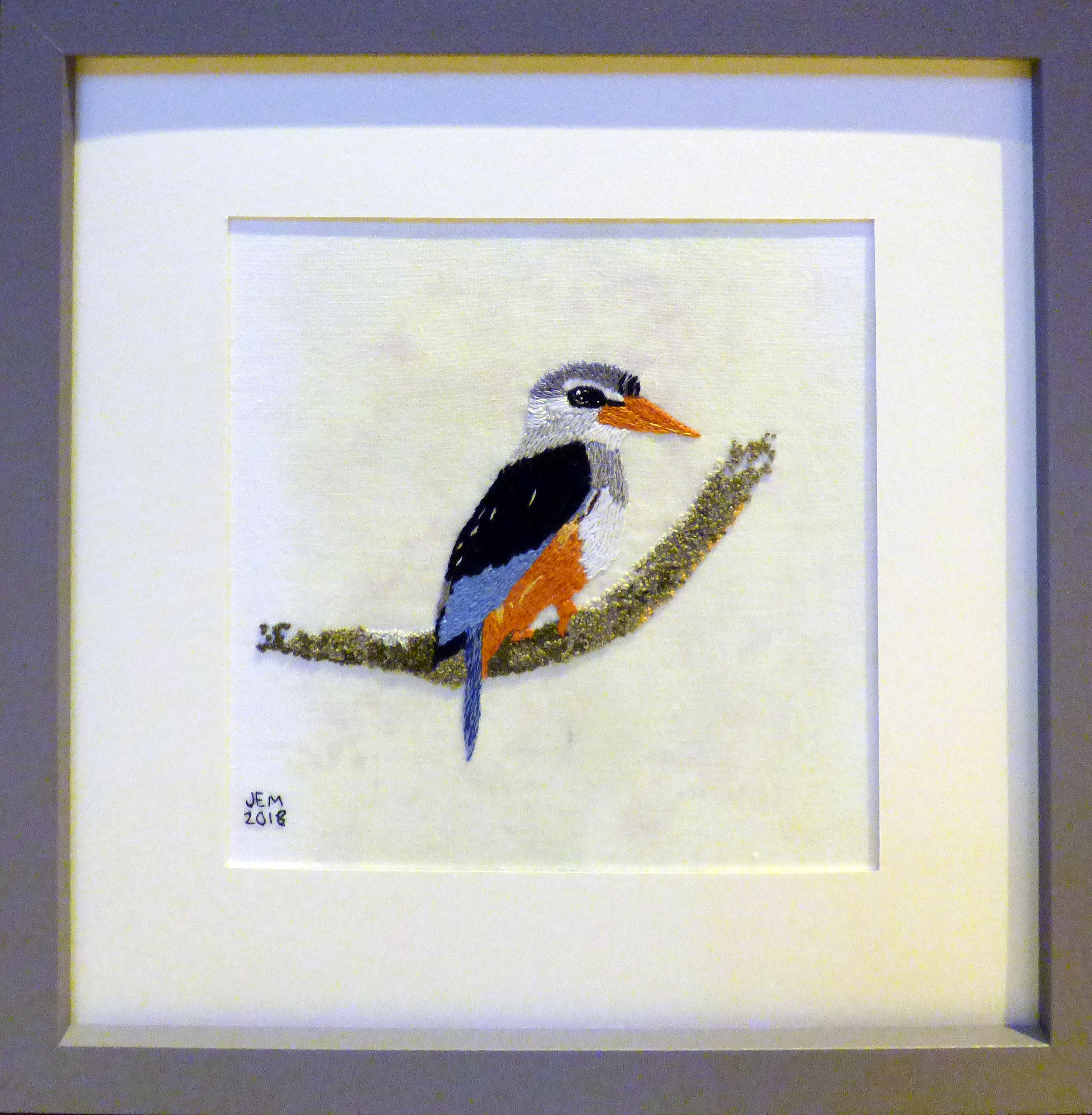 GREY-HEADED KINGFISHER by Jean Mather, hand embroidery,  Endeavour exhibition, Liverpool Cathedral, Sept 2018