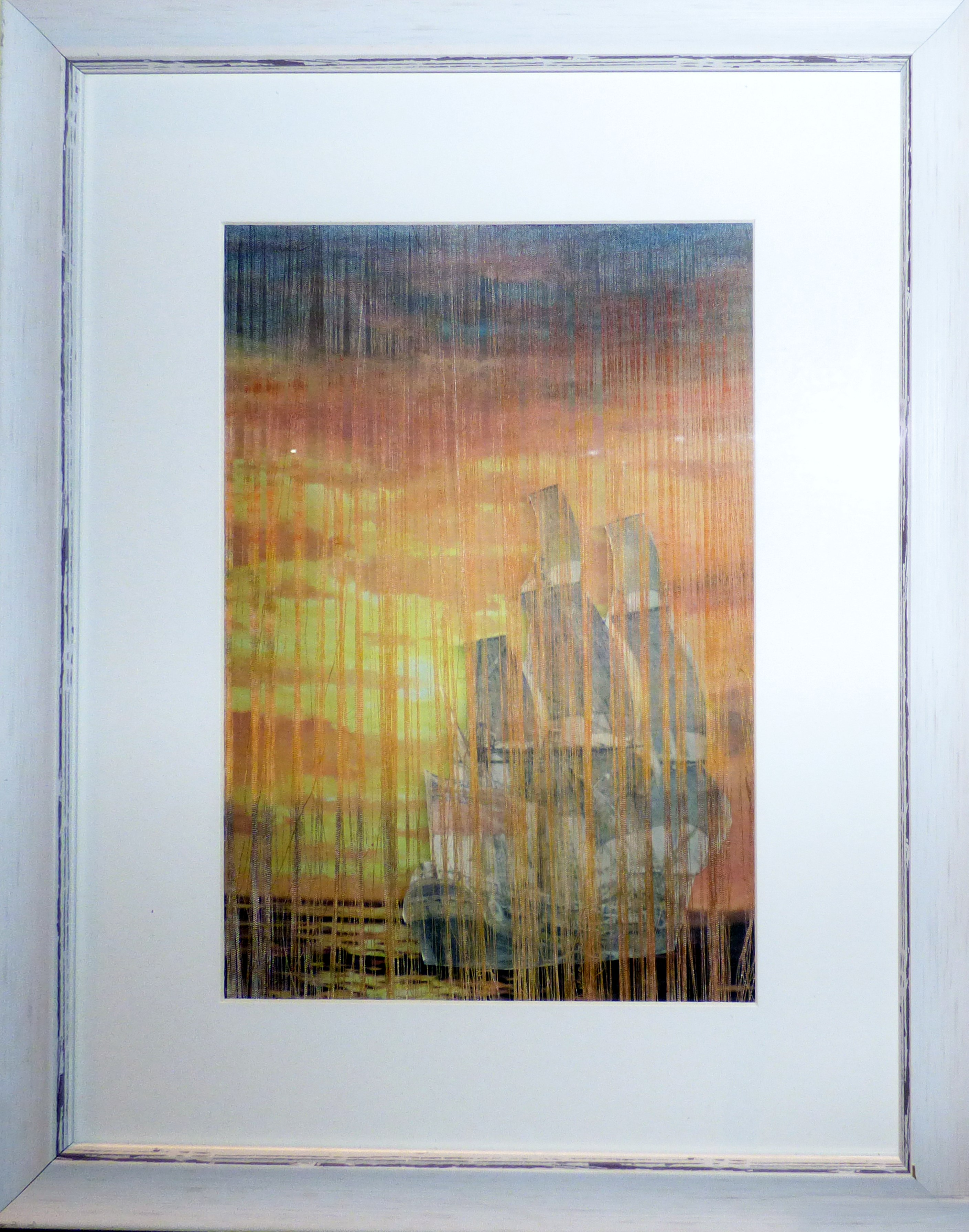 SUNSET AT SEA by Rubina Porter MBE, mixed media,   Endeavour exhibition, Liverpool Cathedral, Sept 2018