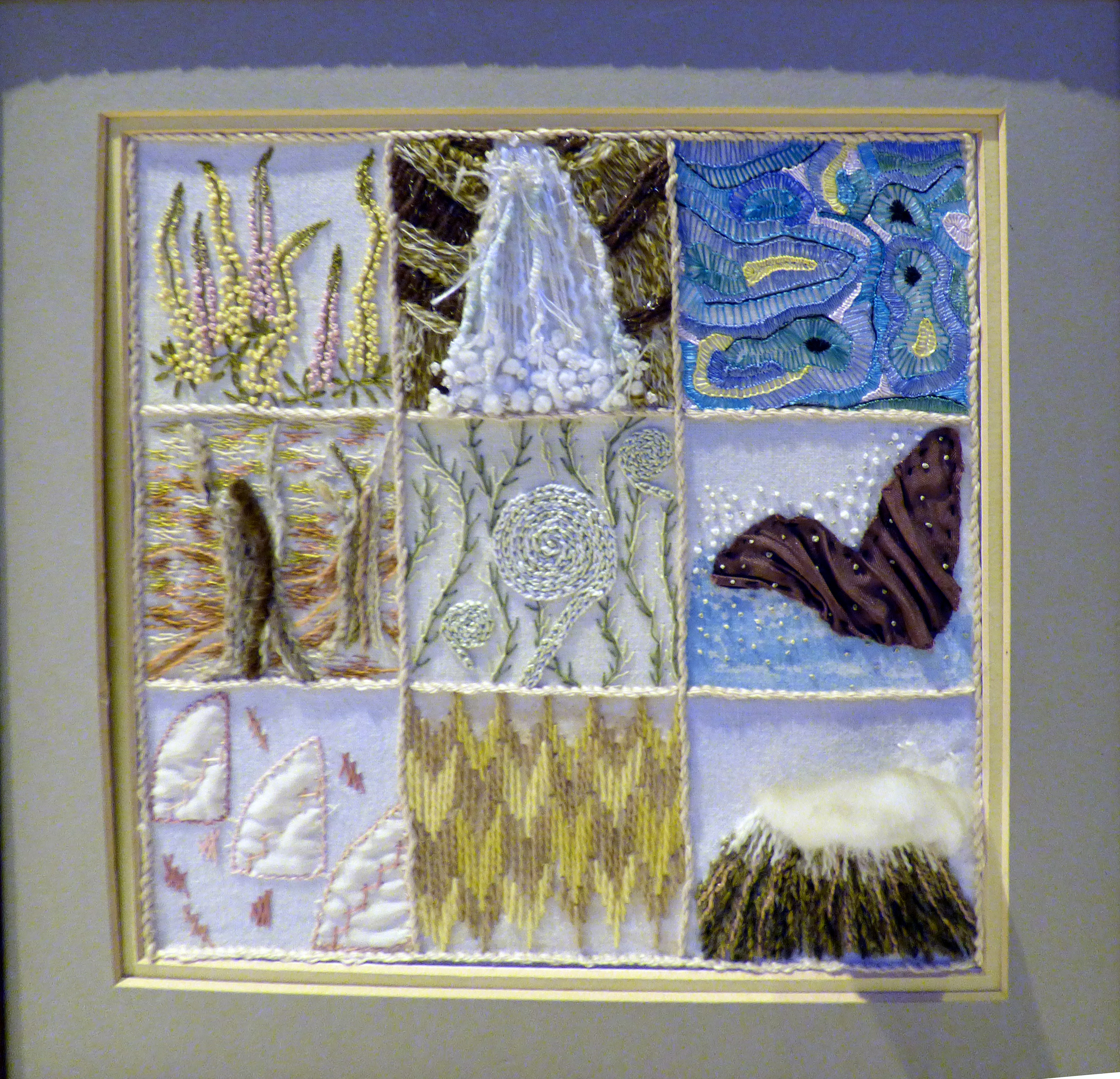 IMAGES OF NEW ZEALAND by Linda Sowler, hand embroidery,  Endeavour exhibition, Liverpool Cathedral, Sept 2018