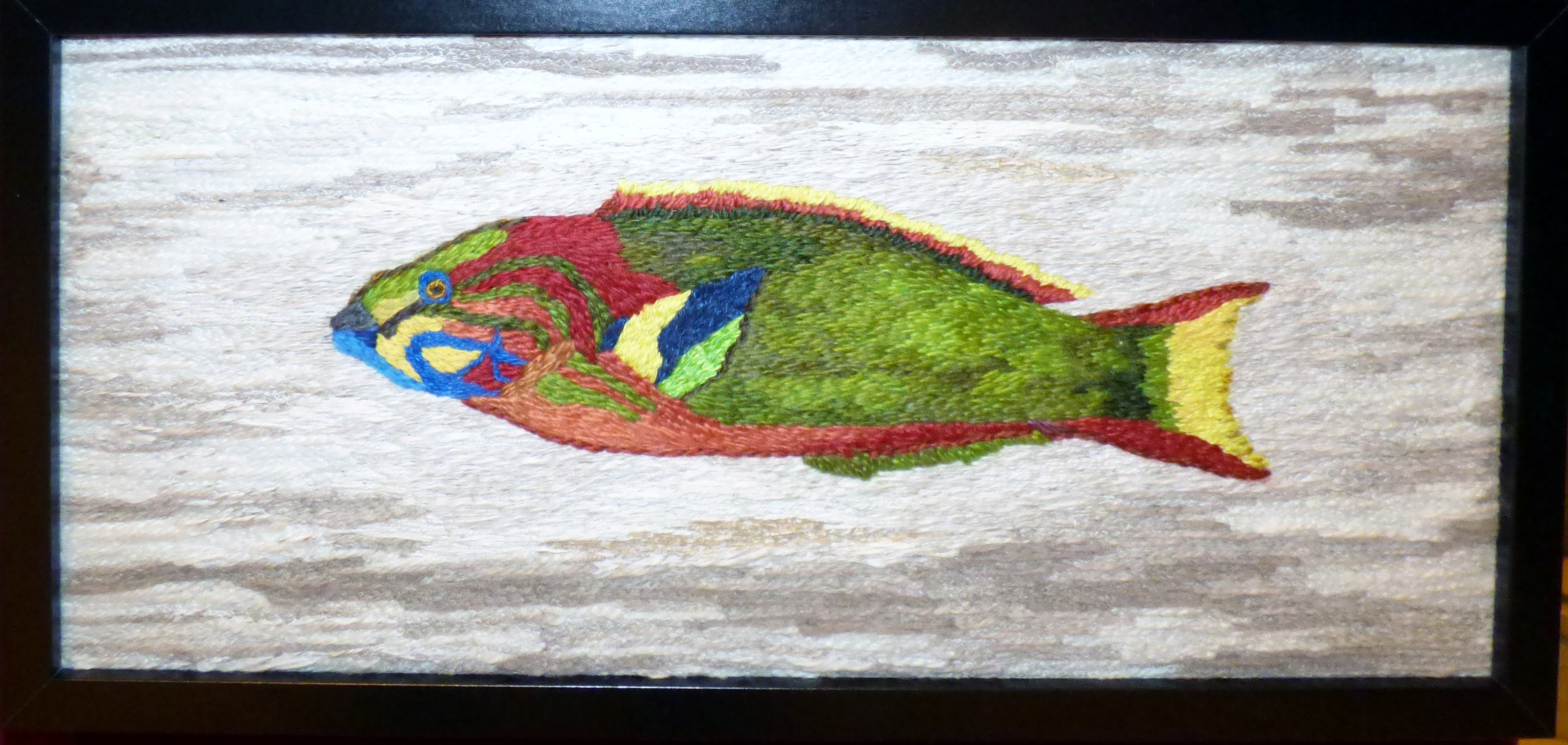 GREEN MOON WRASSE by Patti Owen, hand embroidery,  Endeavour exhibition, Liverpool Cathedral, Sept 2018