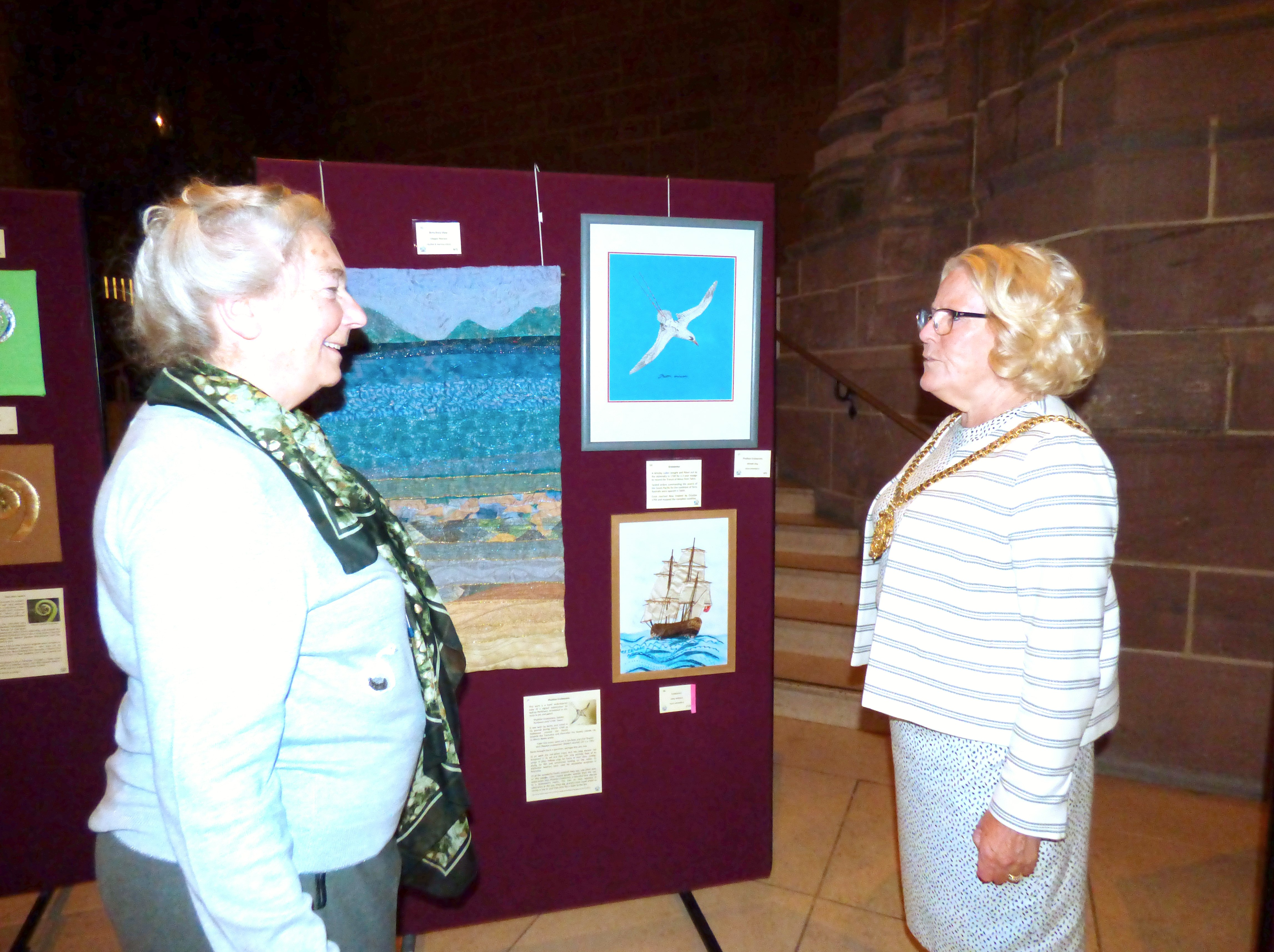 MEG Chair Vicky Williams with Liverpool Lord Mayor Cllr Christine Banks at  Endeavour exhibition, Liverpool Cathedral, Sept 2018