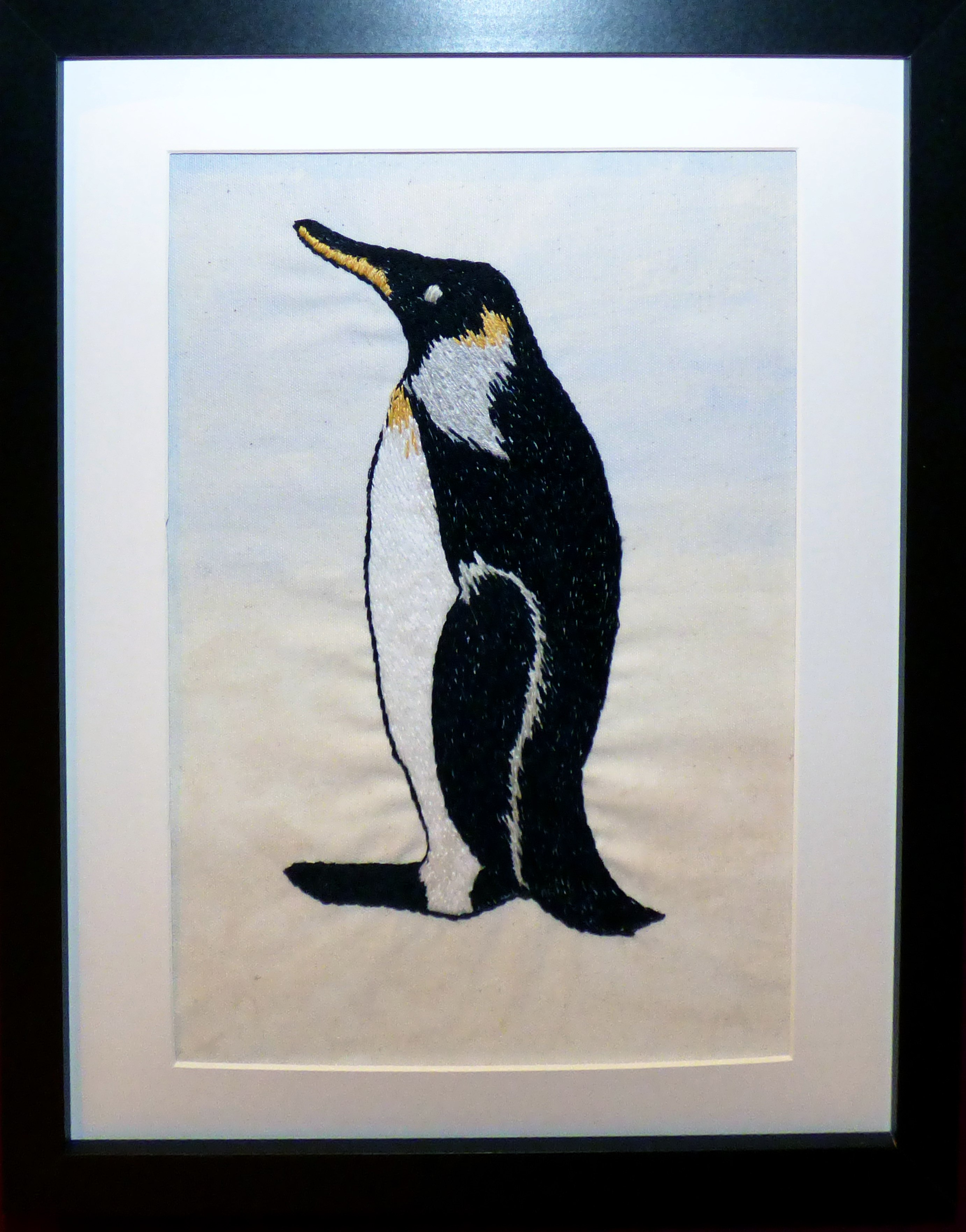 PENGUIN by Linda Sowler, hand embroidery,  Endeavour exhibition, Liverpool Cathedral, Sept 2018