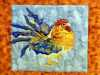 RED JUNGLEFOWL by Ann Thyer, applique,, Endeavour exhibition, Liverpool Cathedral, Sept 2018