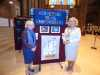 Kathy Green and Lord Mayor of Liverpool Cllr Christine Banks with Young Embroiderers' display at Endeavour exhibition, Liverpool Cathedral, Sept 2018