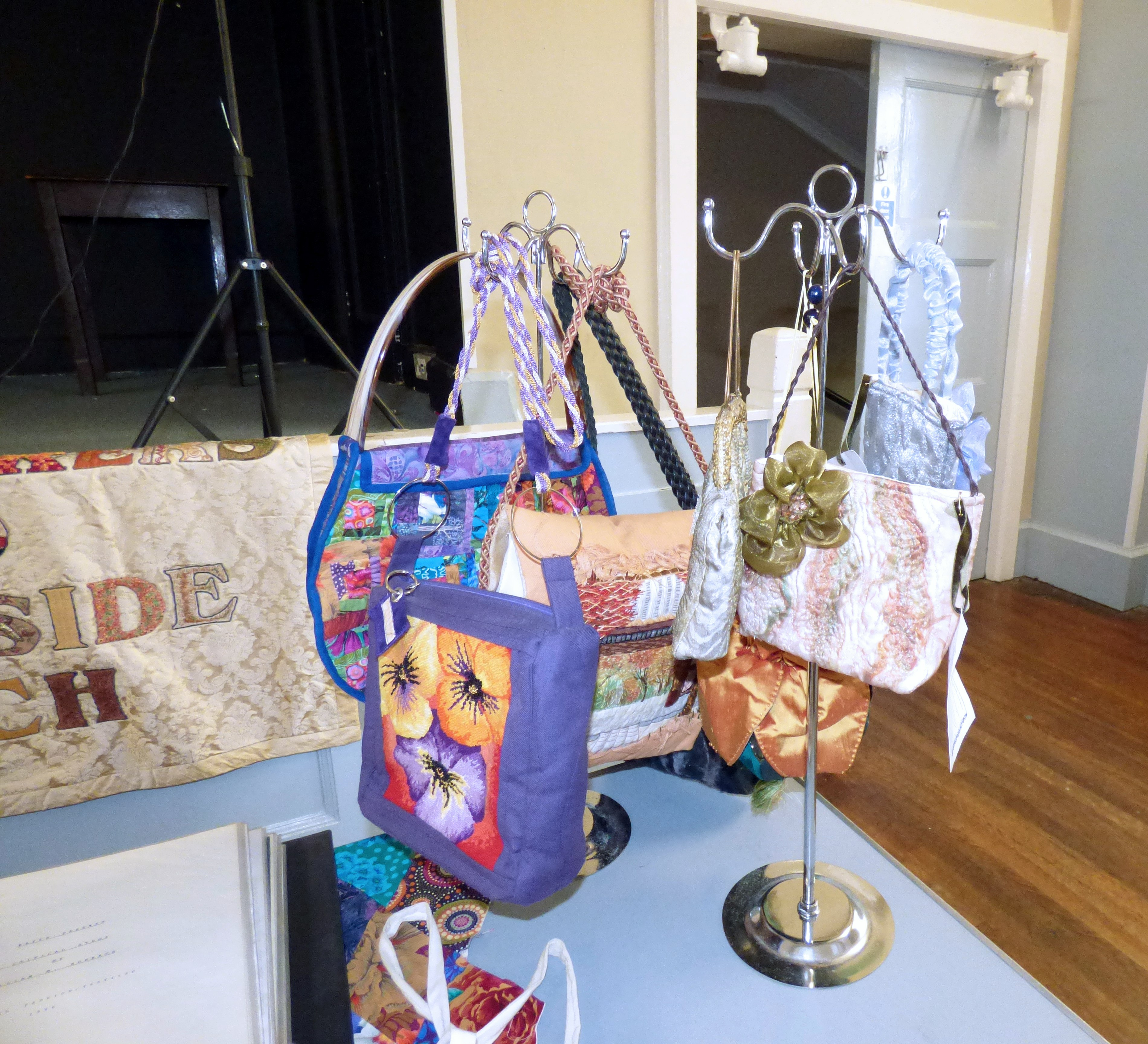 "selection of bags made by Gill Roberts, ""My Stitching Journey"" Talk, Oct 2018"