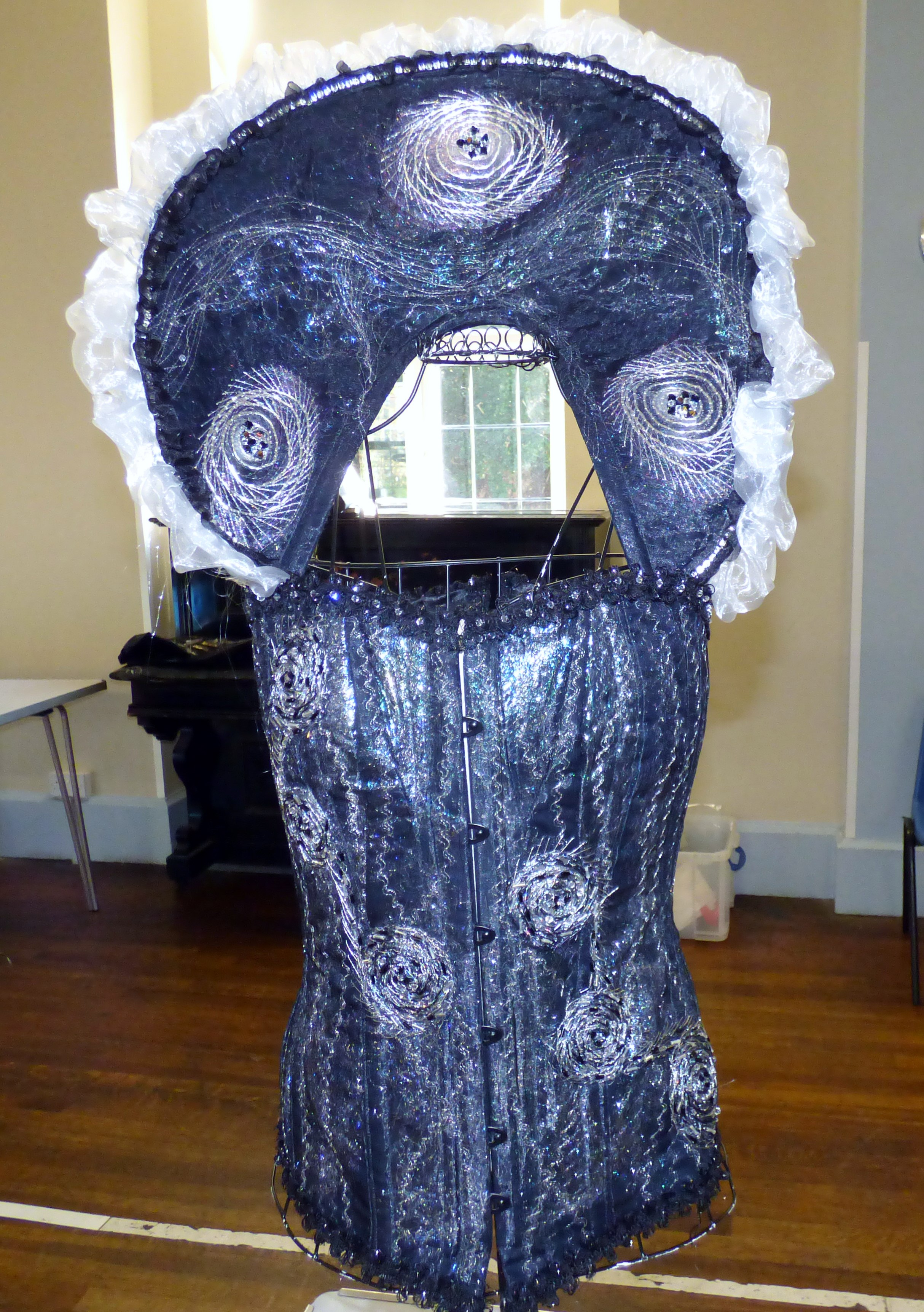 """embroidered corset by Gill Roberts, """"My Stitching Journey"""" Talk, Oct 2018"""