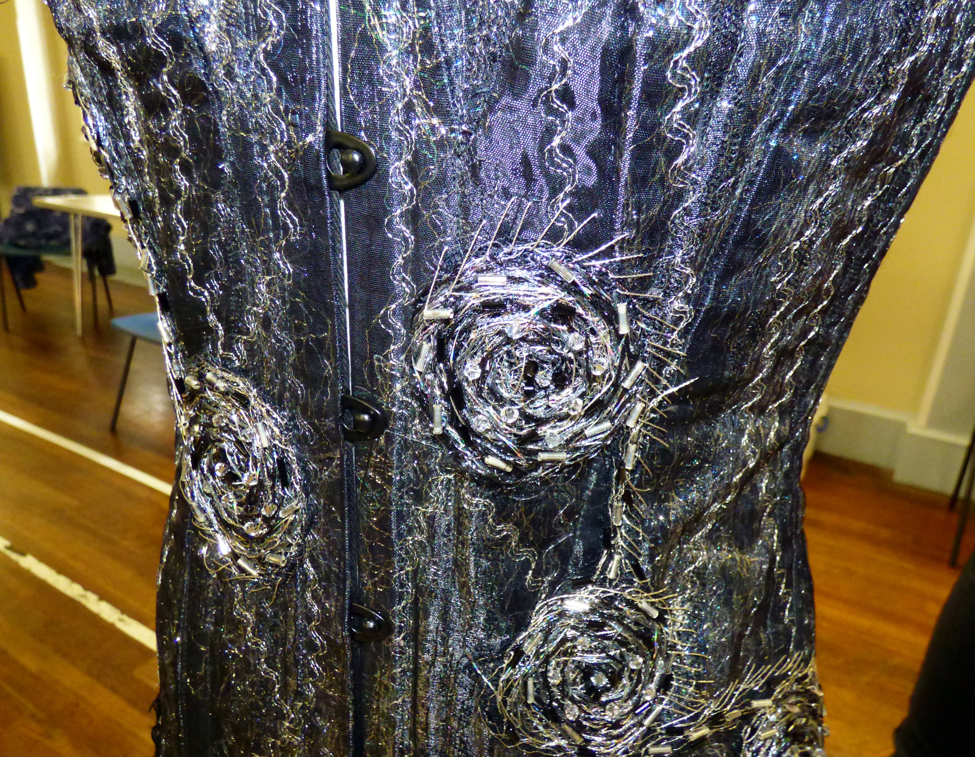 """detail of embroidered corset by Gill Roberts, """"My Stitching Journey"""" Talk, Oct 2018"""
