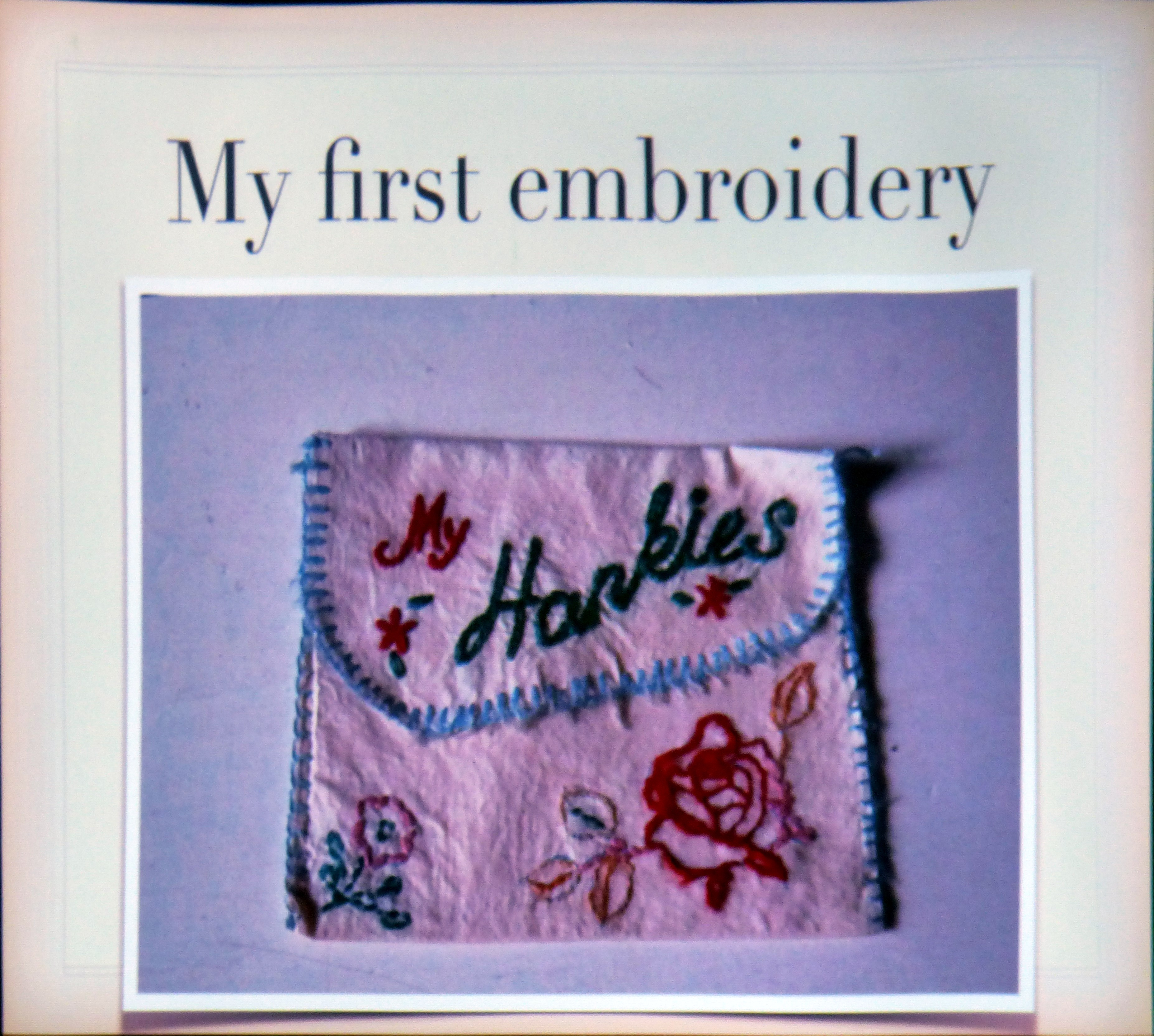 "slide showing embroidery by Gill Roberts, ""My Stitching Journey"" Talk, Oct 2018"