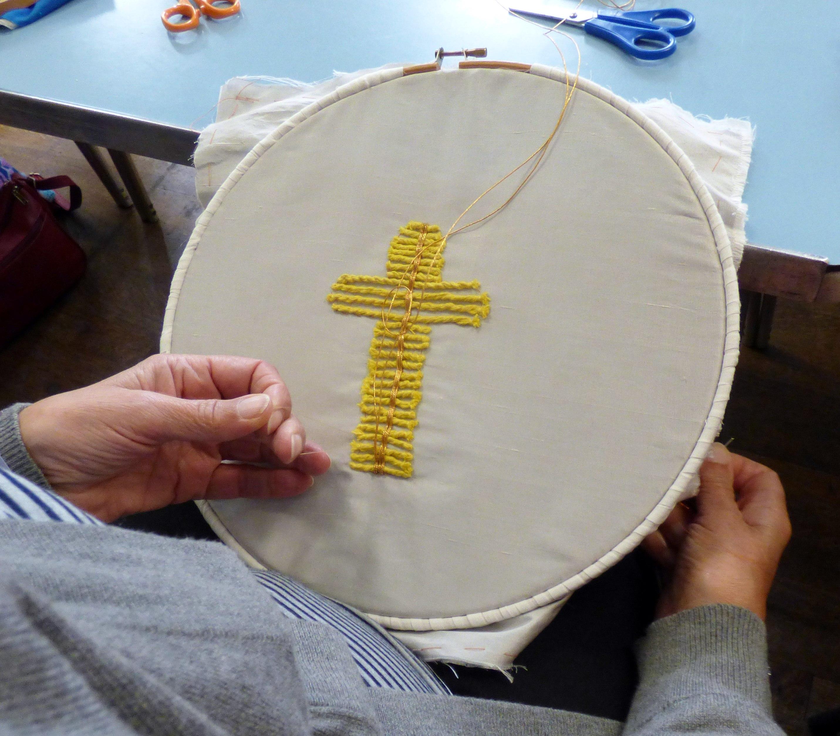 Student's work at Basketweave in Goldwork Workshop, April 2018