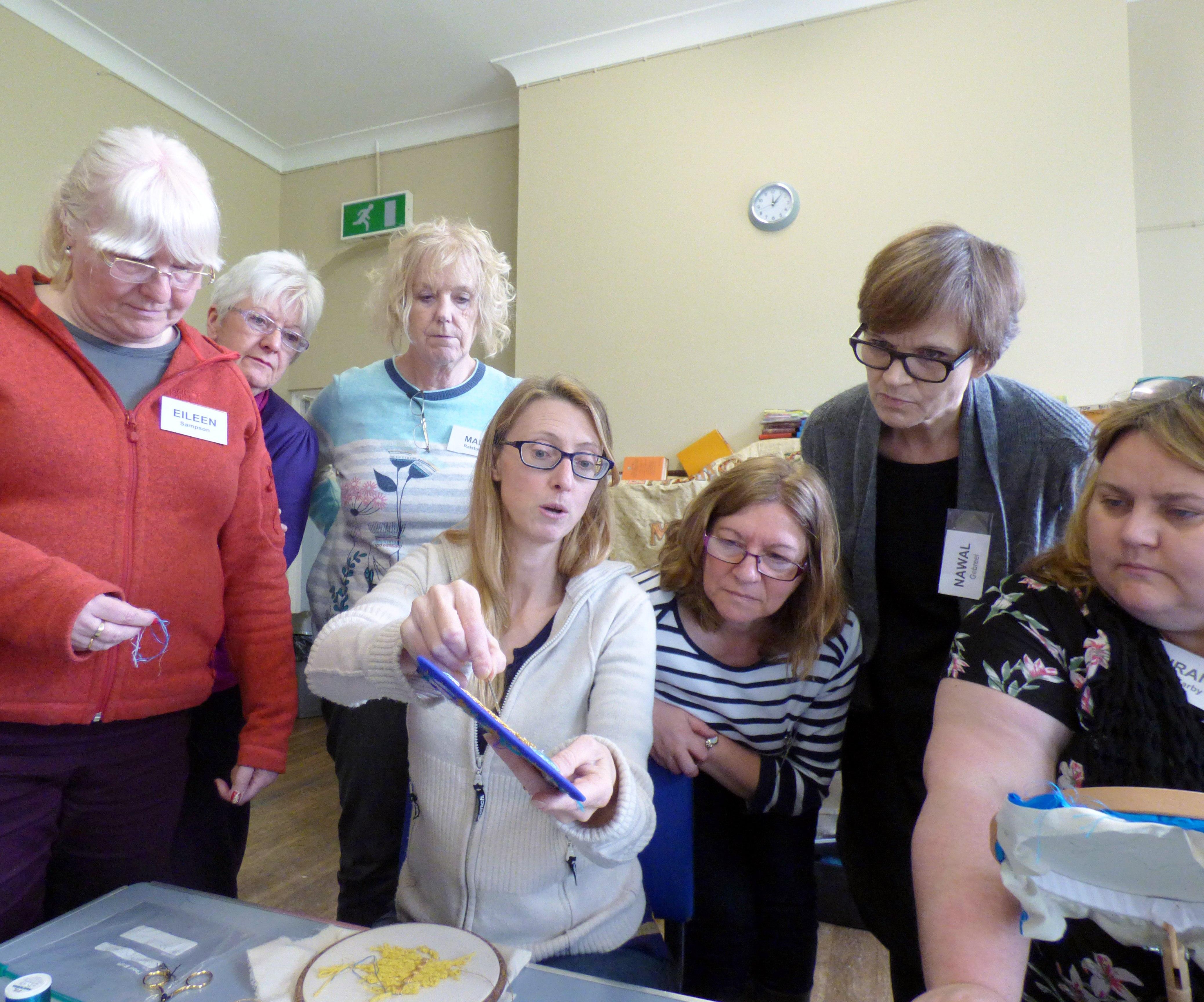 Tutor Sarah Rakestraw demonstrating techniques at  Basketweave in Goldwork Workshop, April 2018