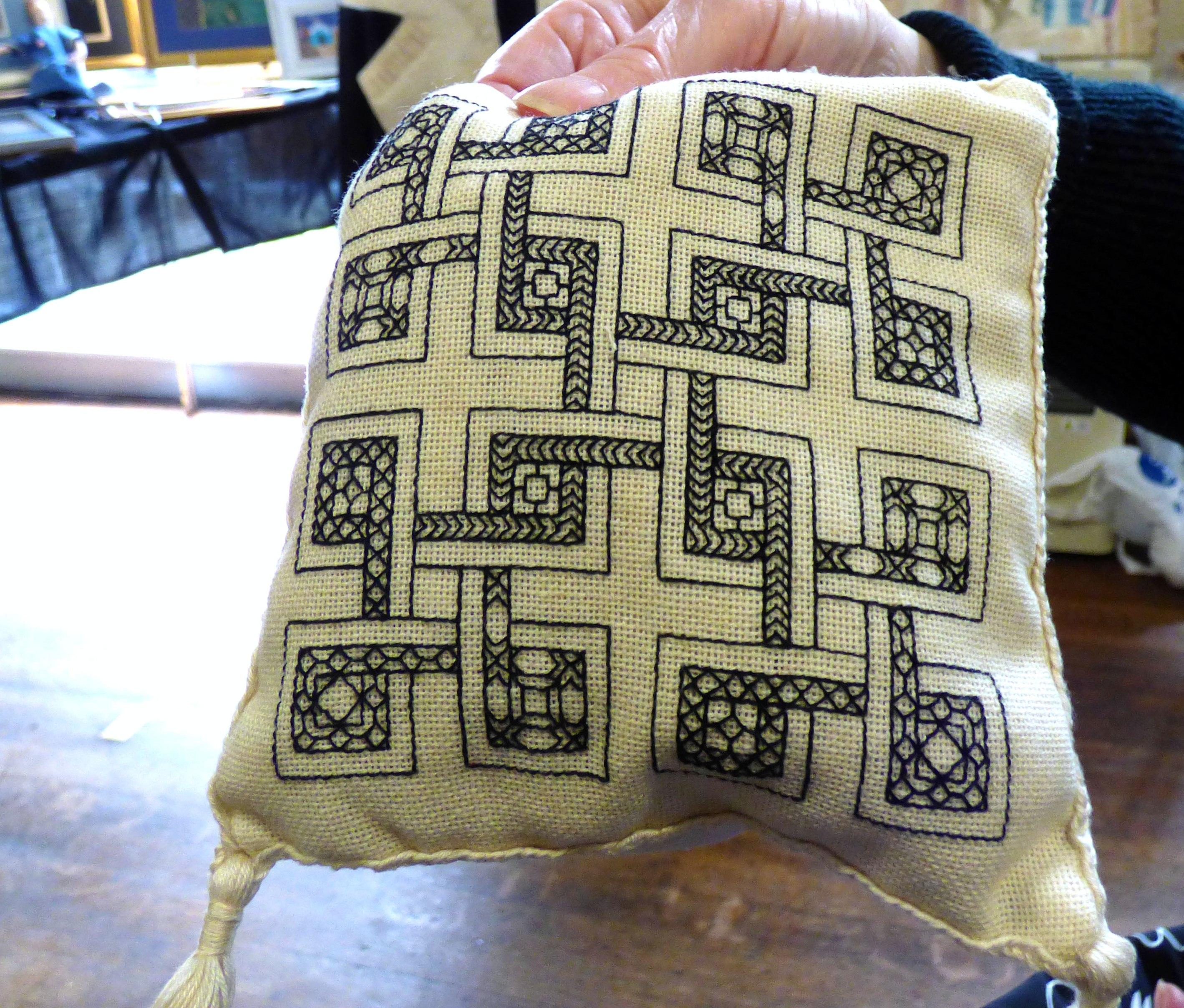 blackwork herb pillow by Eileen Pepper, Bolton EG 2018
