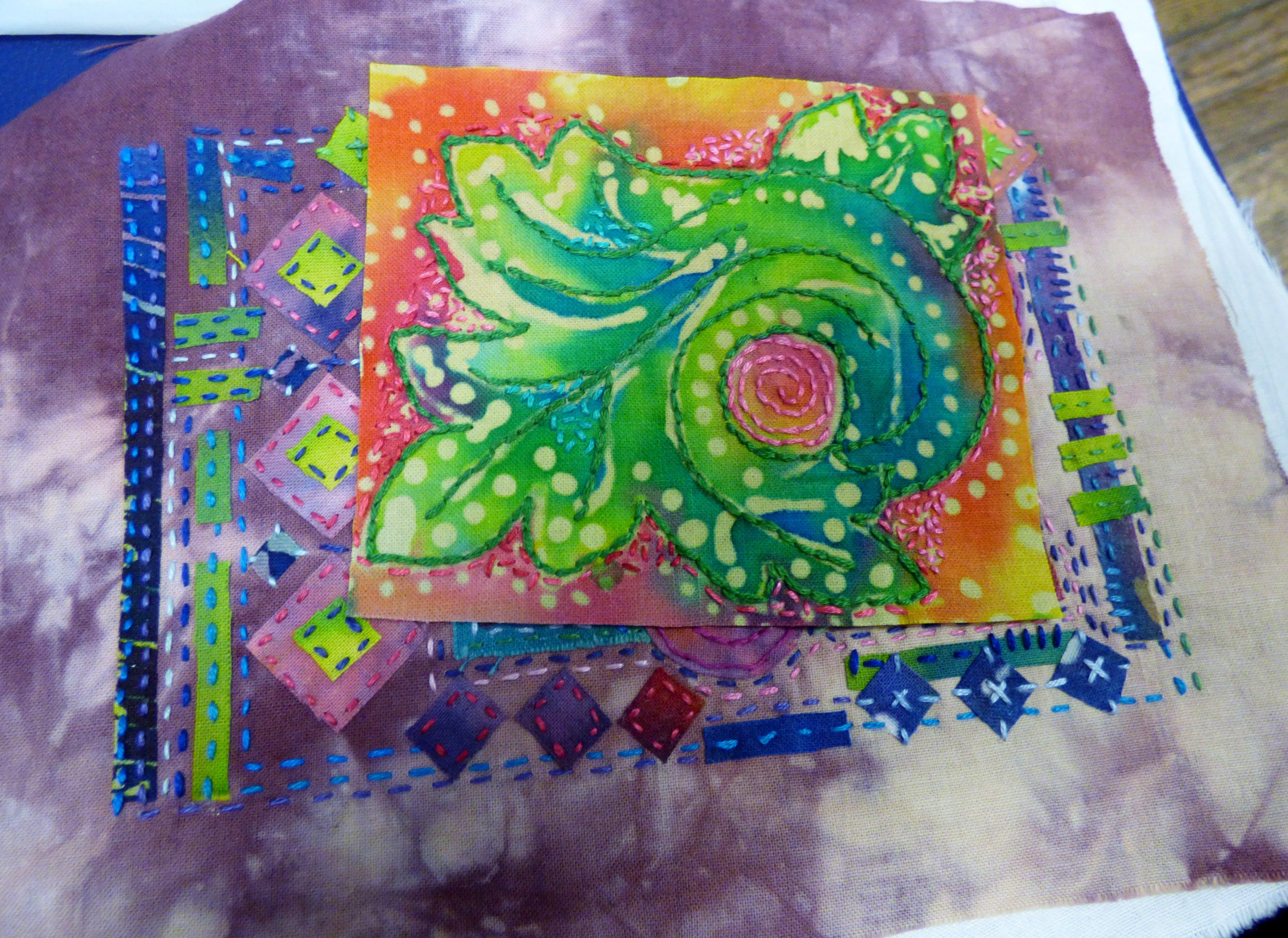 embroidered sample by Barbara Ryall, Bolton EG 2018
